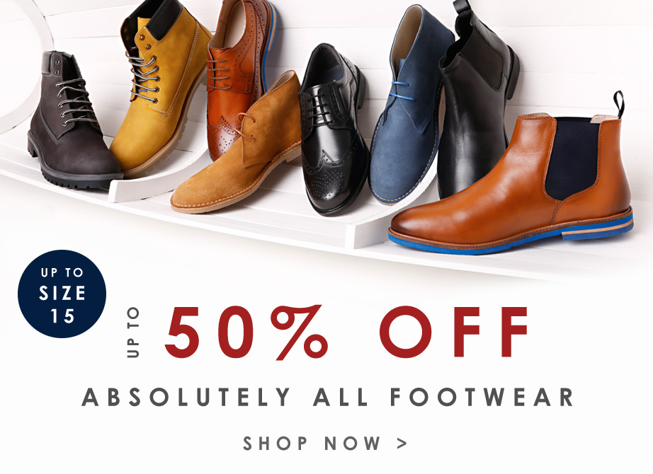 up to 50% off mens footwear
