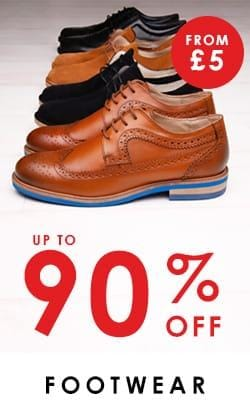 up to 90% off selected mens footwear >