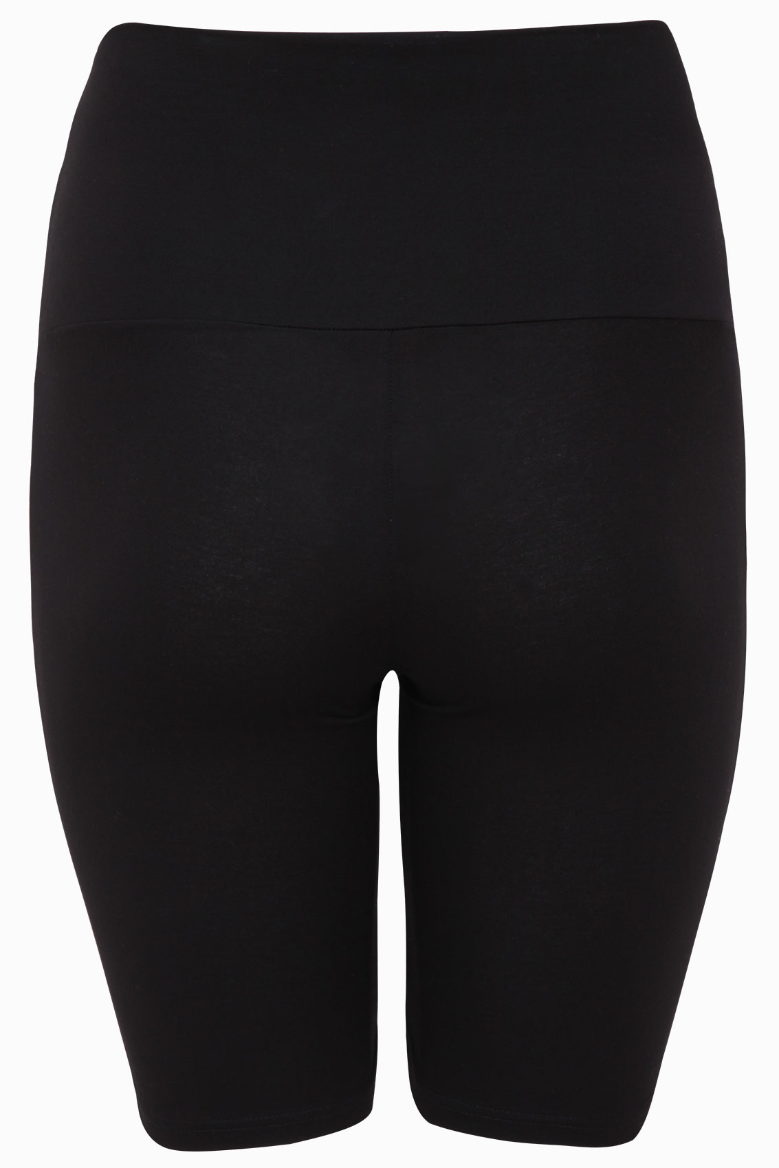 Black Tummy Control Soft Touch Legging Shorts, Plus Size -6538