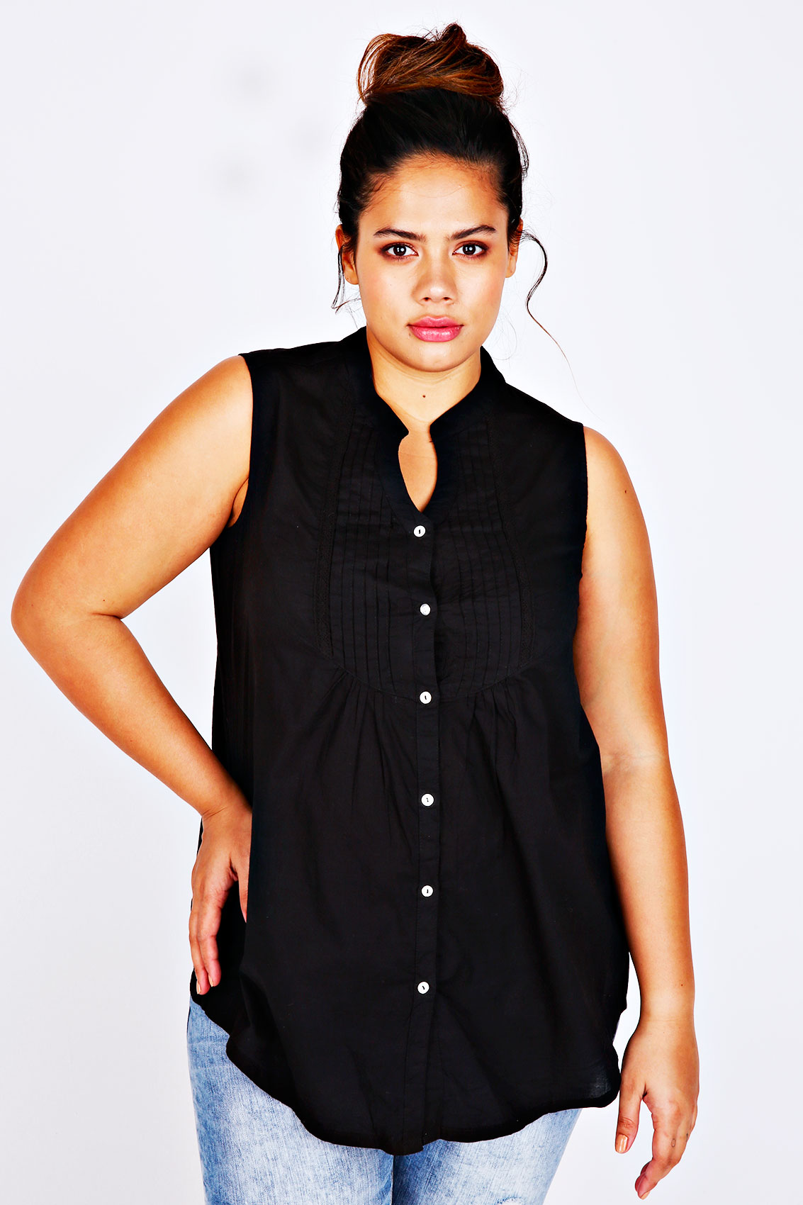 Black sleeveless shirt with pin tuck detail plus size 14 to 36 for Tucked in shirt plus size