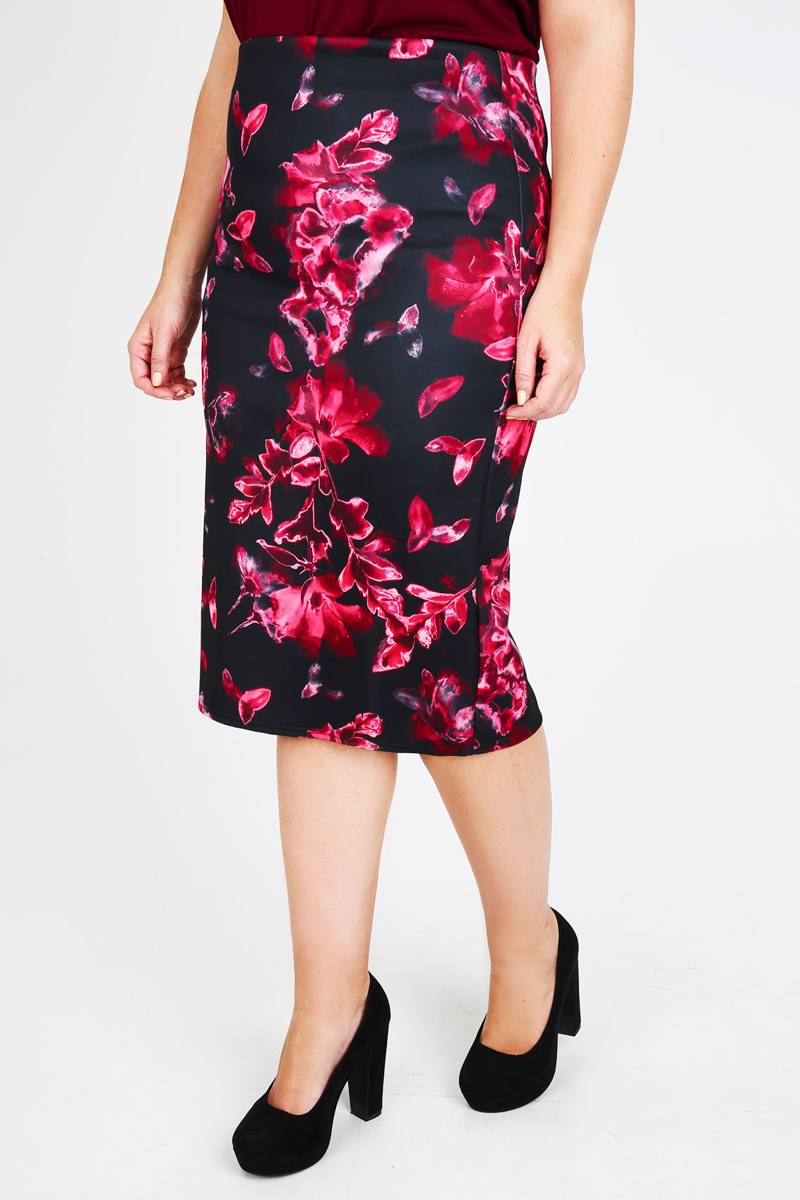 black pink floral print pencil skirt with zip detail