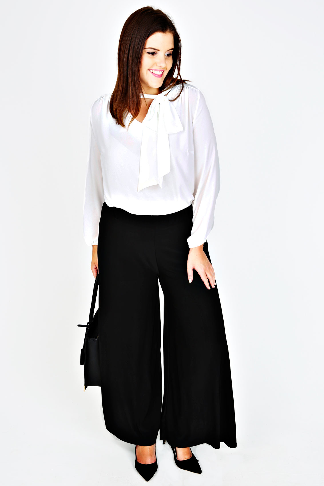 Black Wide Leg Pull On Palazzo Trousers - PETITE plus Size 16 to 32