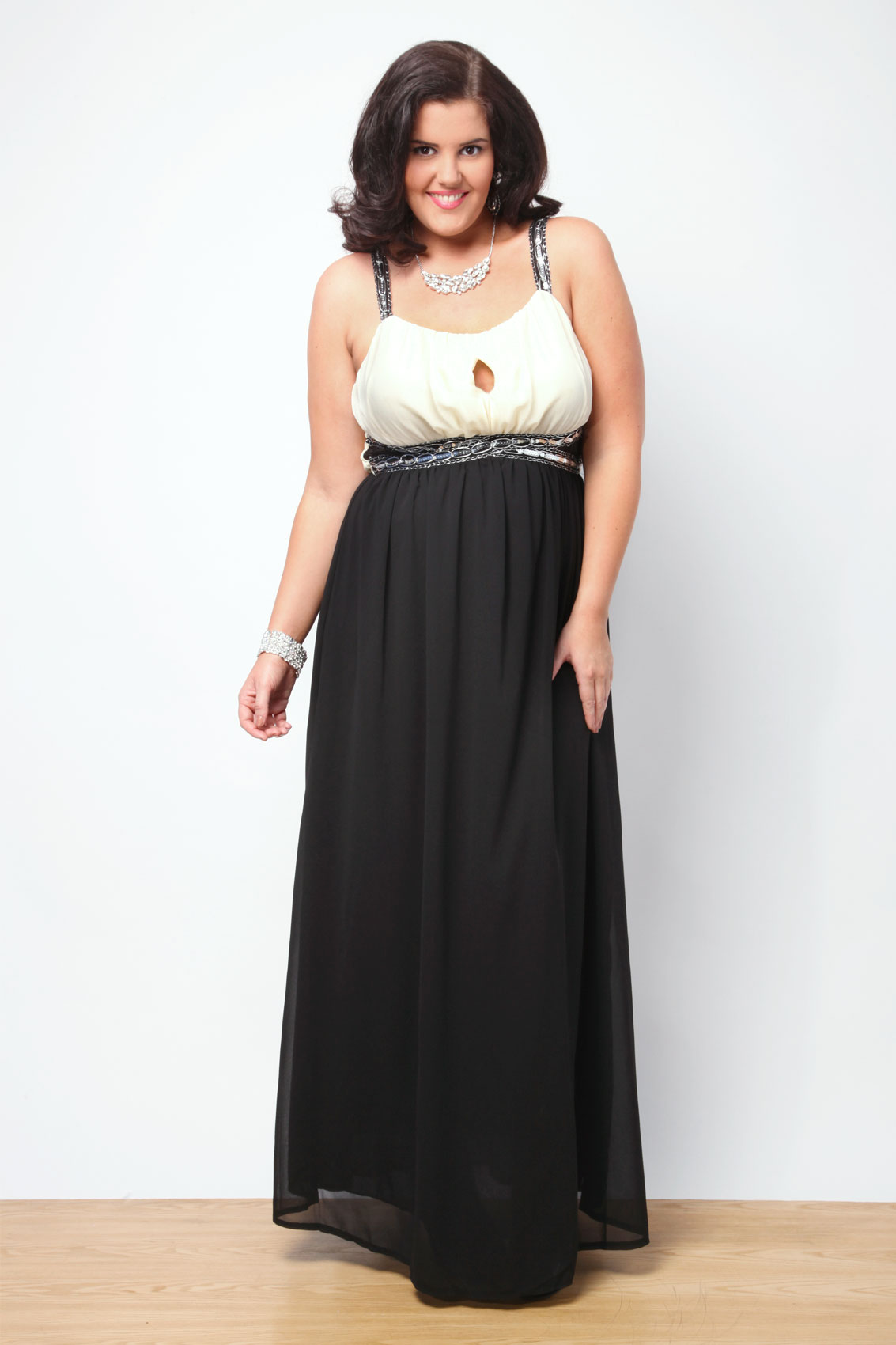 Black And Cream Mesh Panel Sequin Embellished Maxi Dress plus size ...