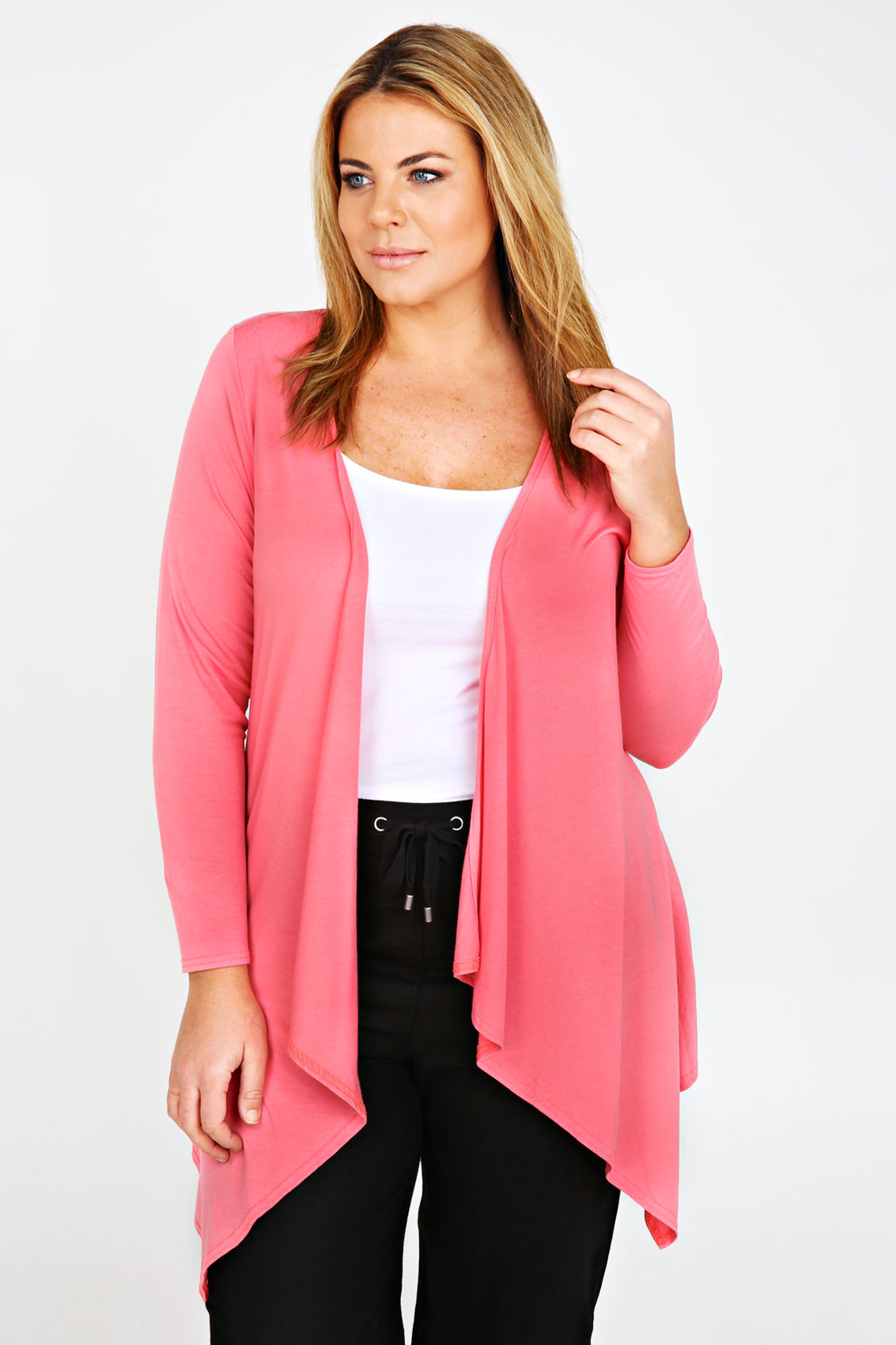 Coral Waterfall Edge to Edge Cardigan