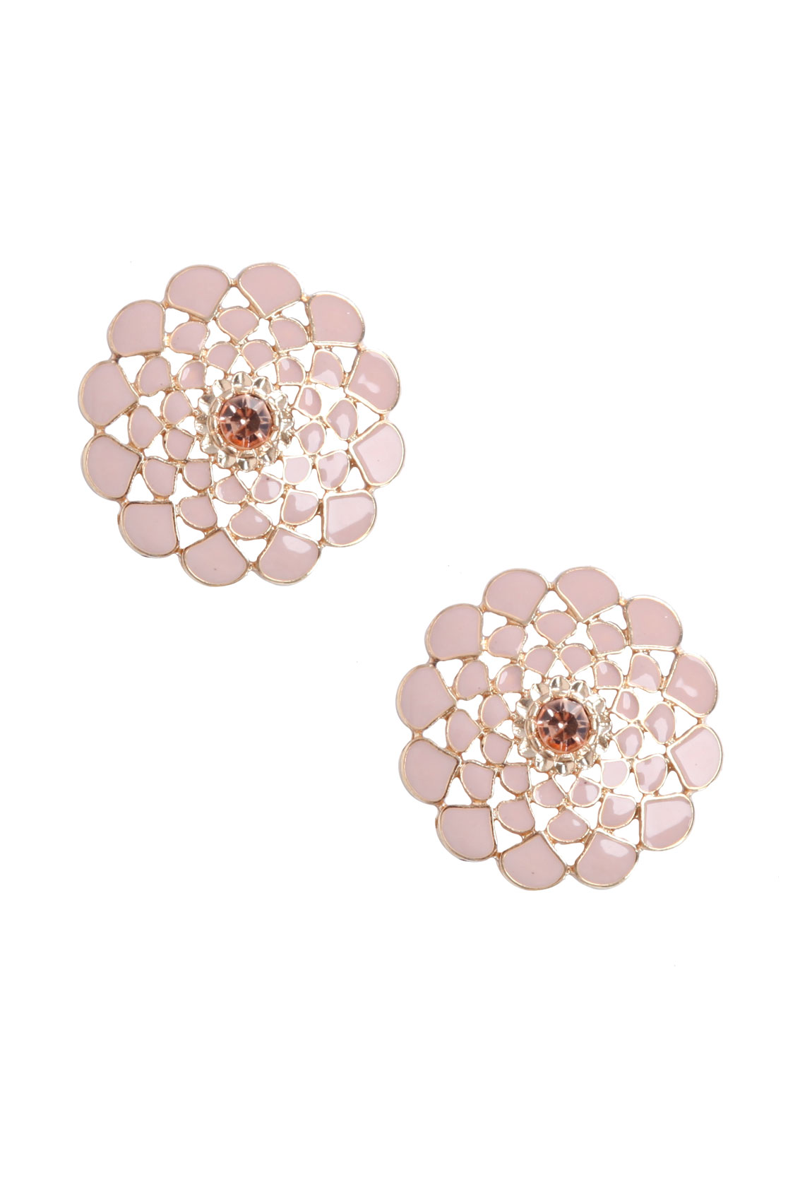 earrings stud big pink p and gold nude flower large