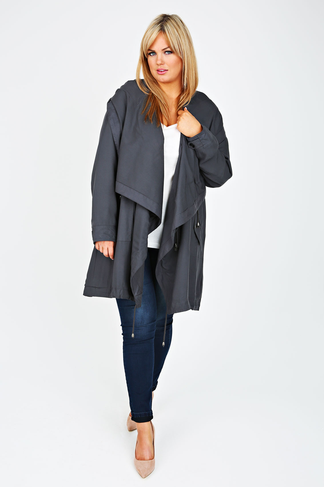 Grey Cocoon Shaped Parka Jacket With Drape Front plus Size 16 to 32
