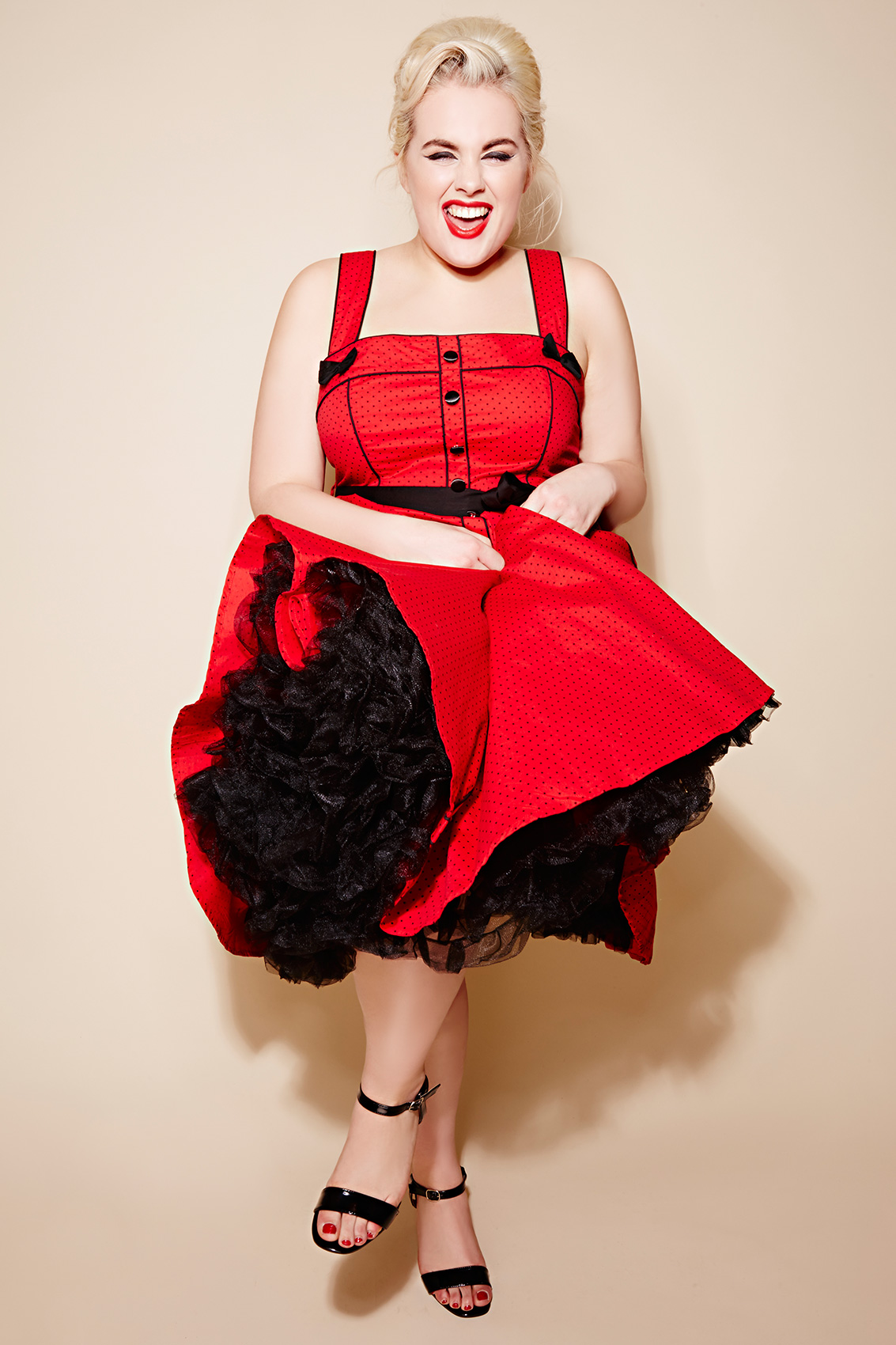 Hell Bunny Black Petticoat Flare Skirt Plus Sizes 14,16,18 -6310