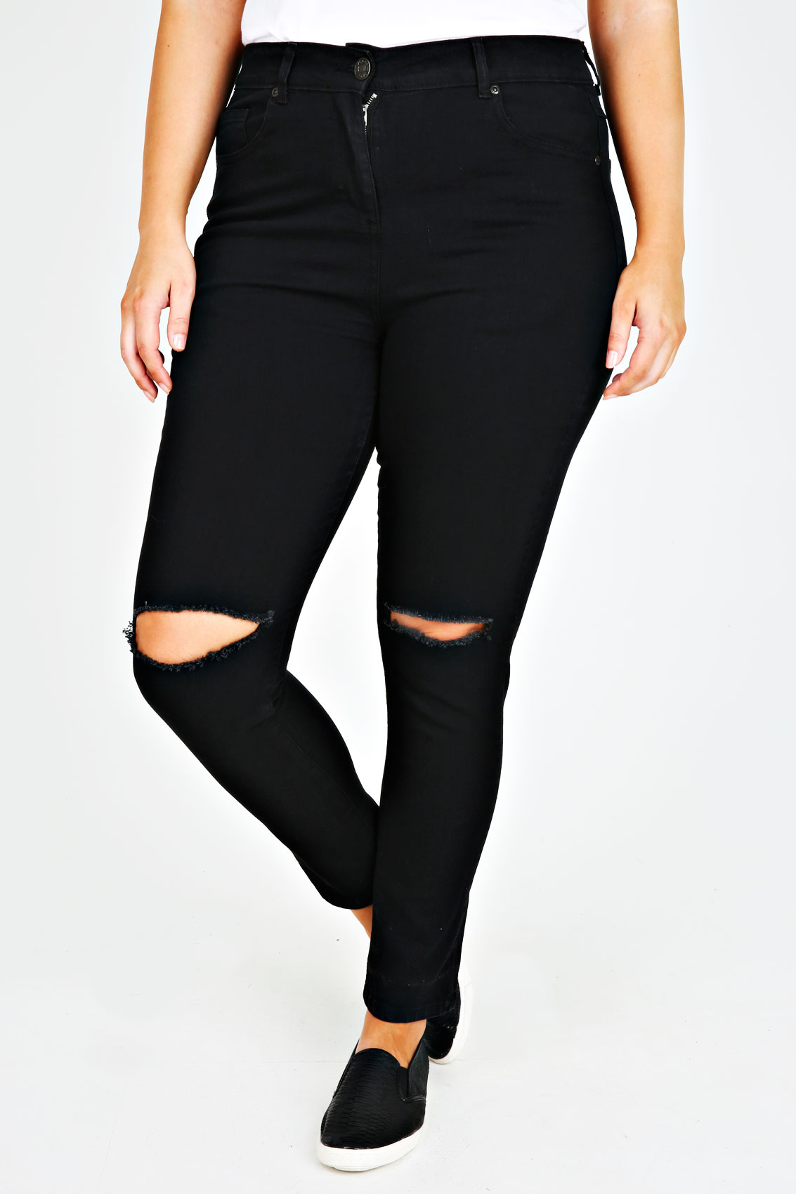 Black Stretch Skinny Jeans With Ripped Knee plus Size 14 to 28