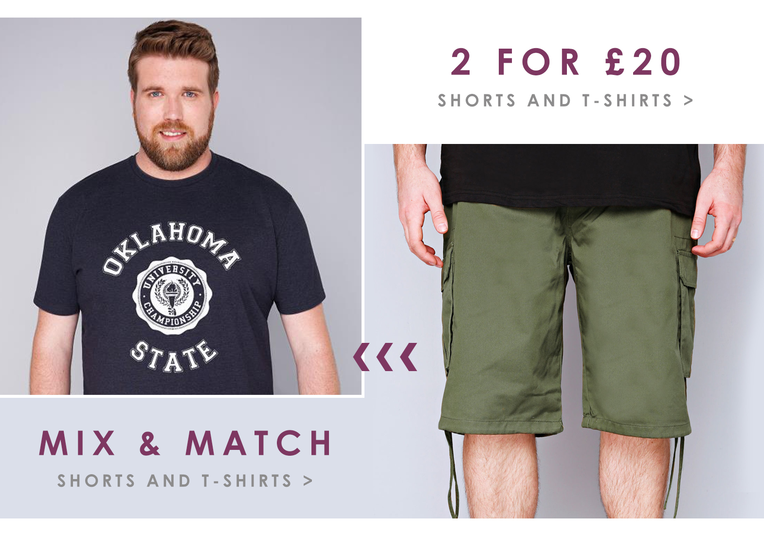 BR Offers Page - 2 for 20 shorts and t shirts