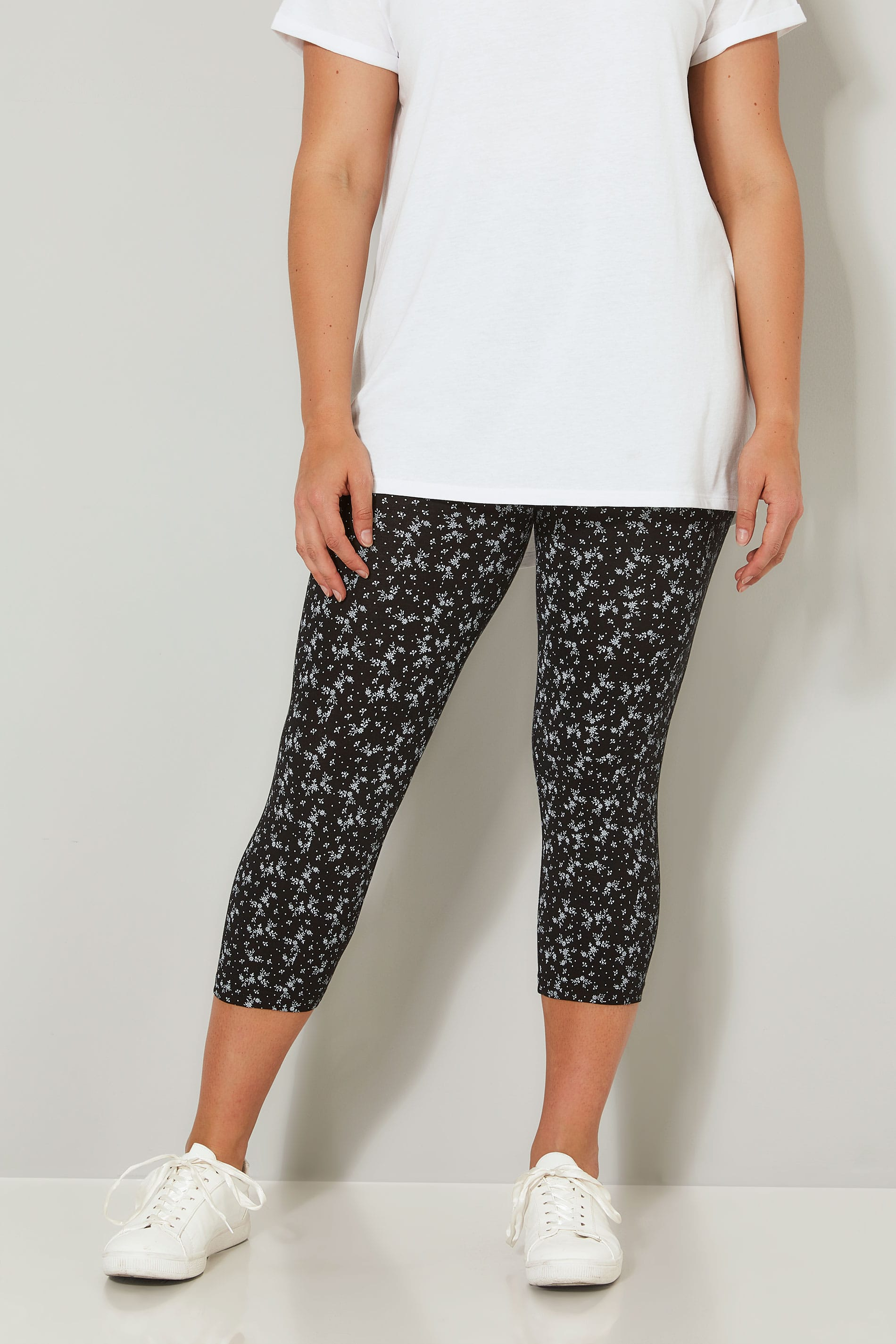 2 PACK Black Cotton Essential Printed Cropped Leggings ...