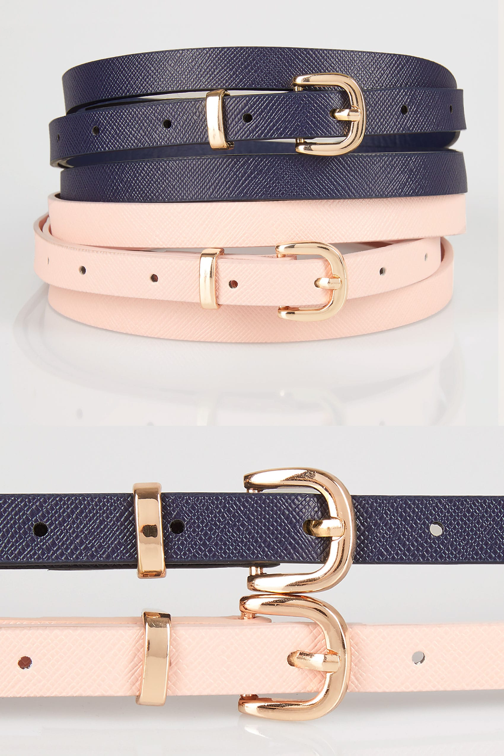 2 pack navy pink skinny belts plus size 16 to 36 for Buy here pay later