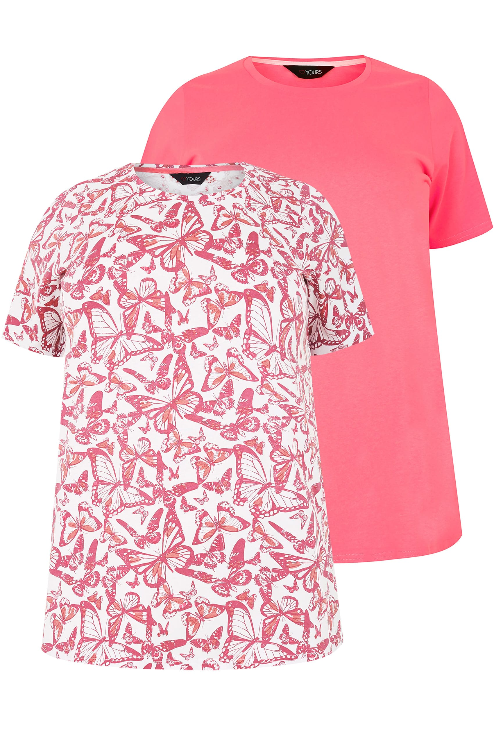 2 pack pink butterfly printed plain t shirts plus size for Quick print t shirts