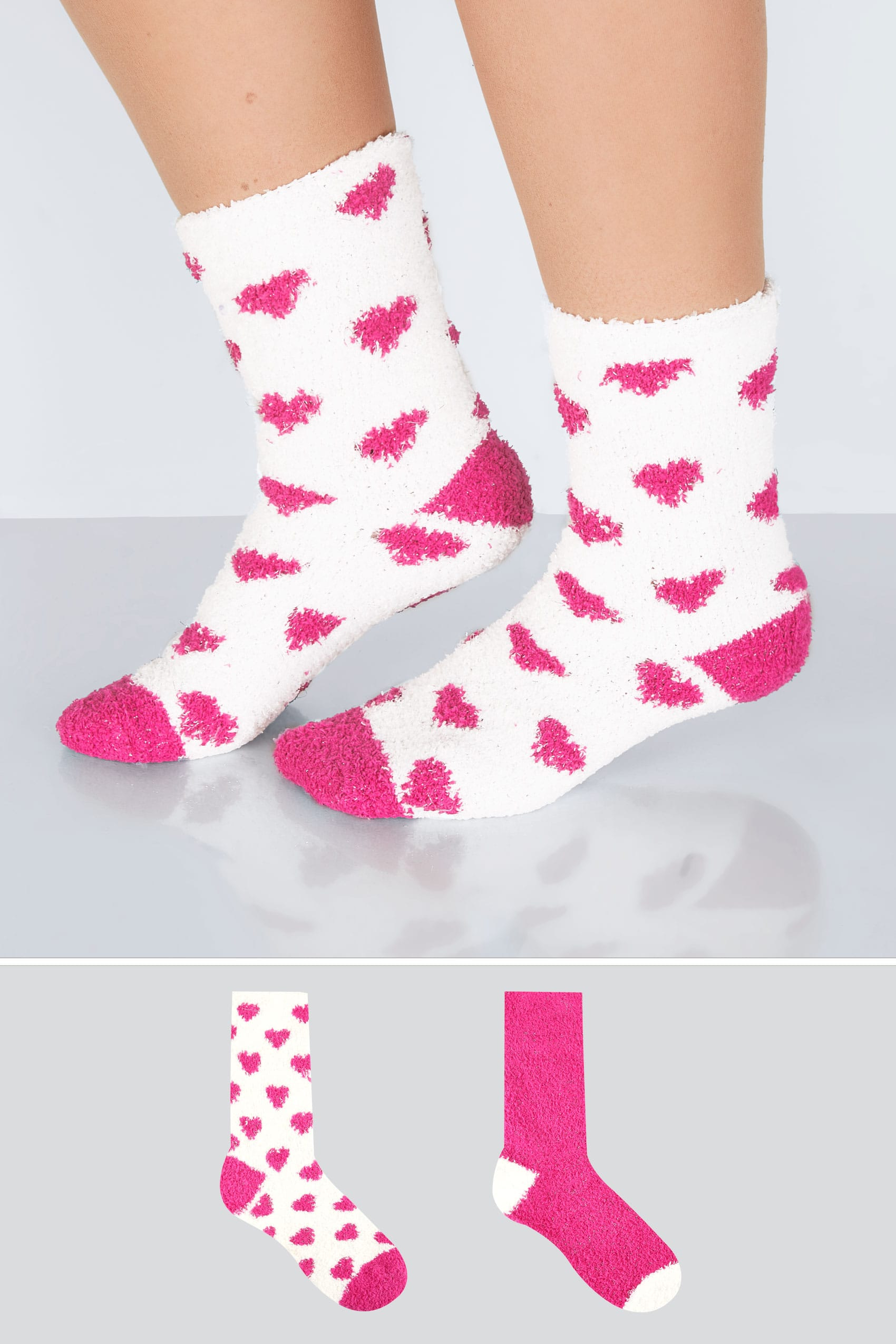 2 pack white fuchsia heart print sparkle cosy socks for Buy here pay later