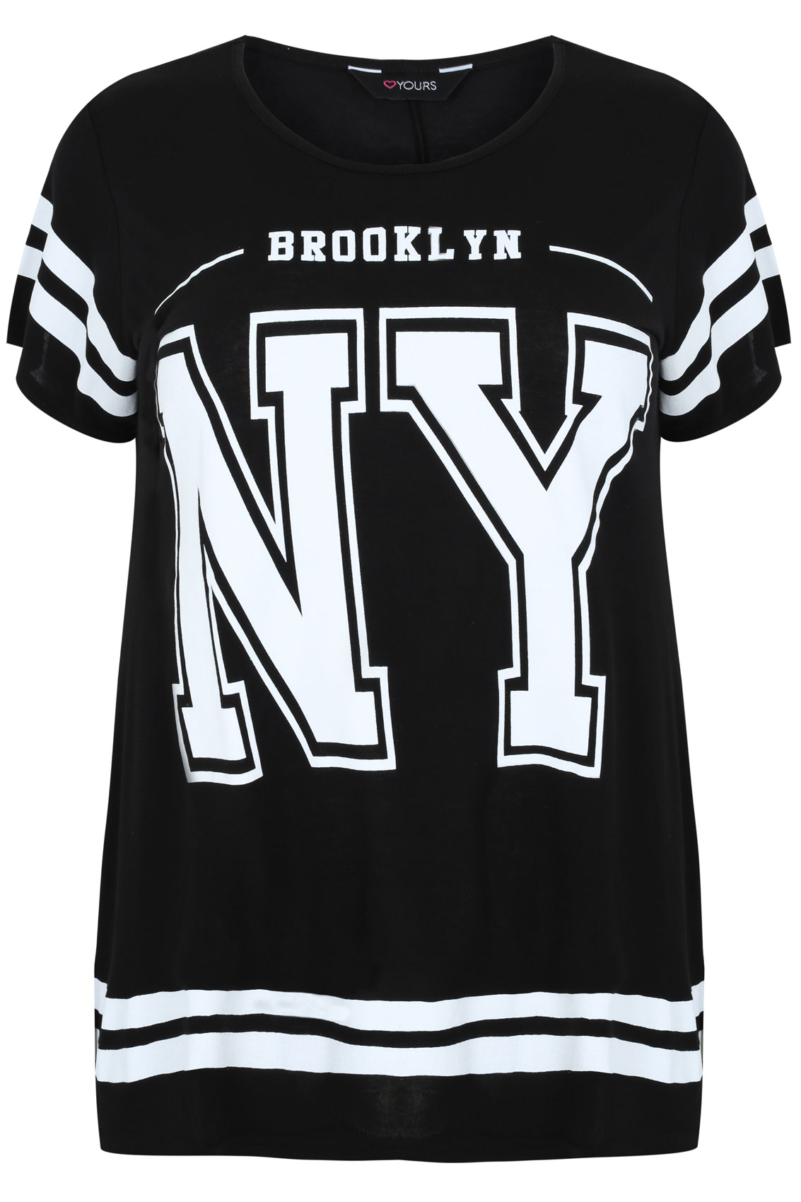 Black and white new york print short sleeve t shirt plus for New york printed t shirts