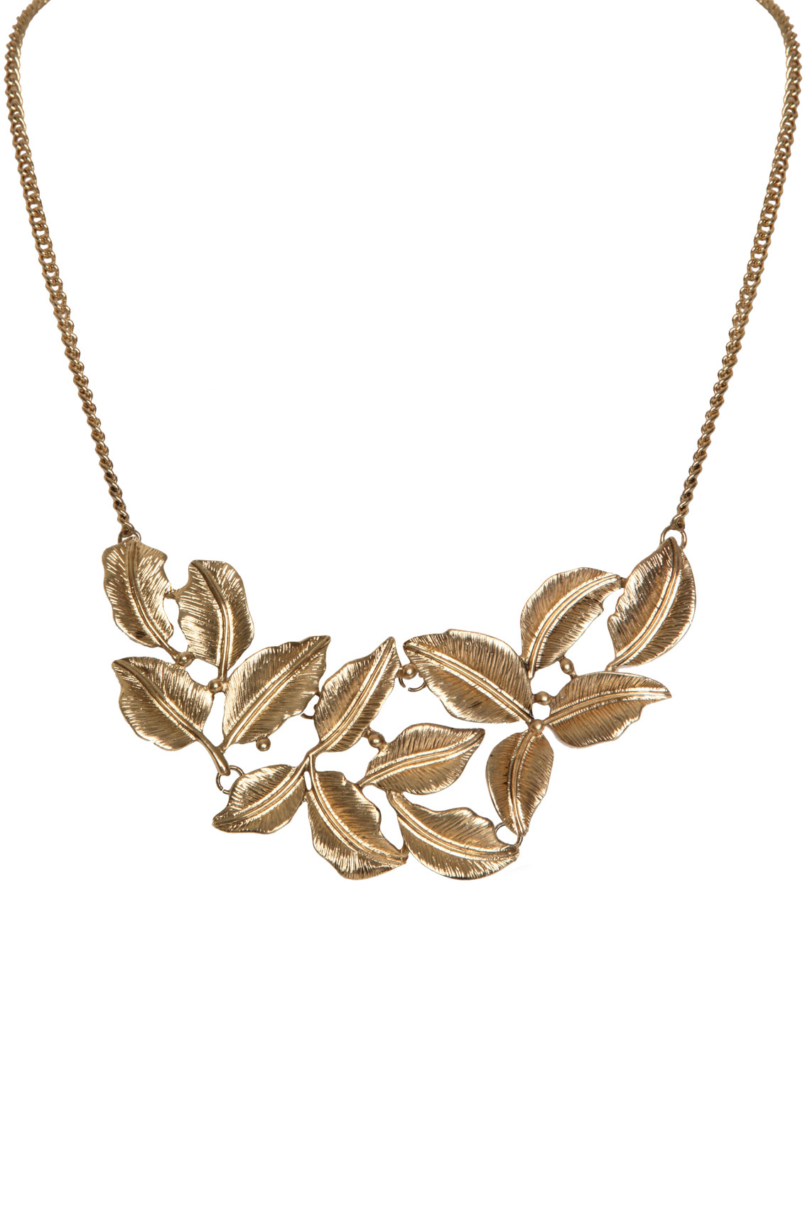 Gold Antique Style Leaf Necklace