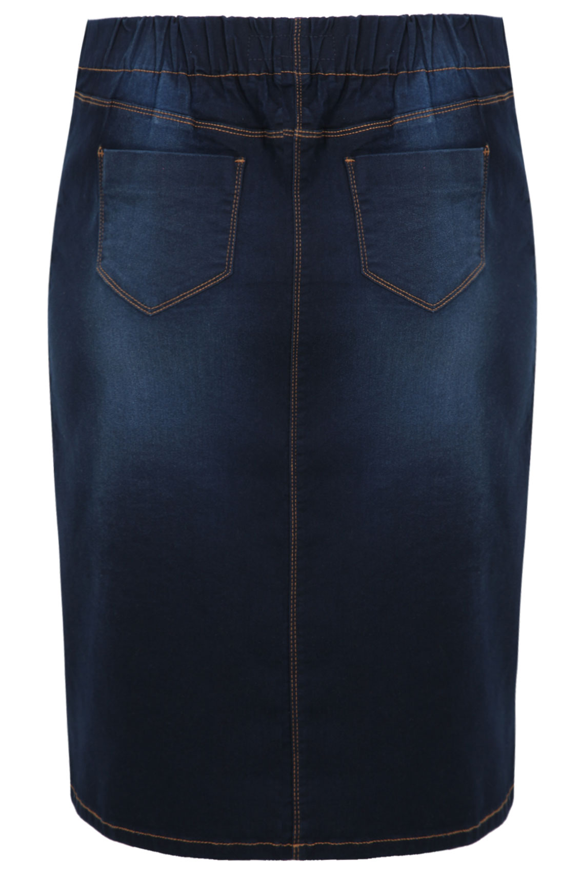Indigo Denim Pull On Midi Pencil Skirt plus Size 14 to 28