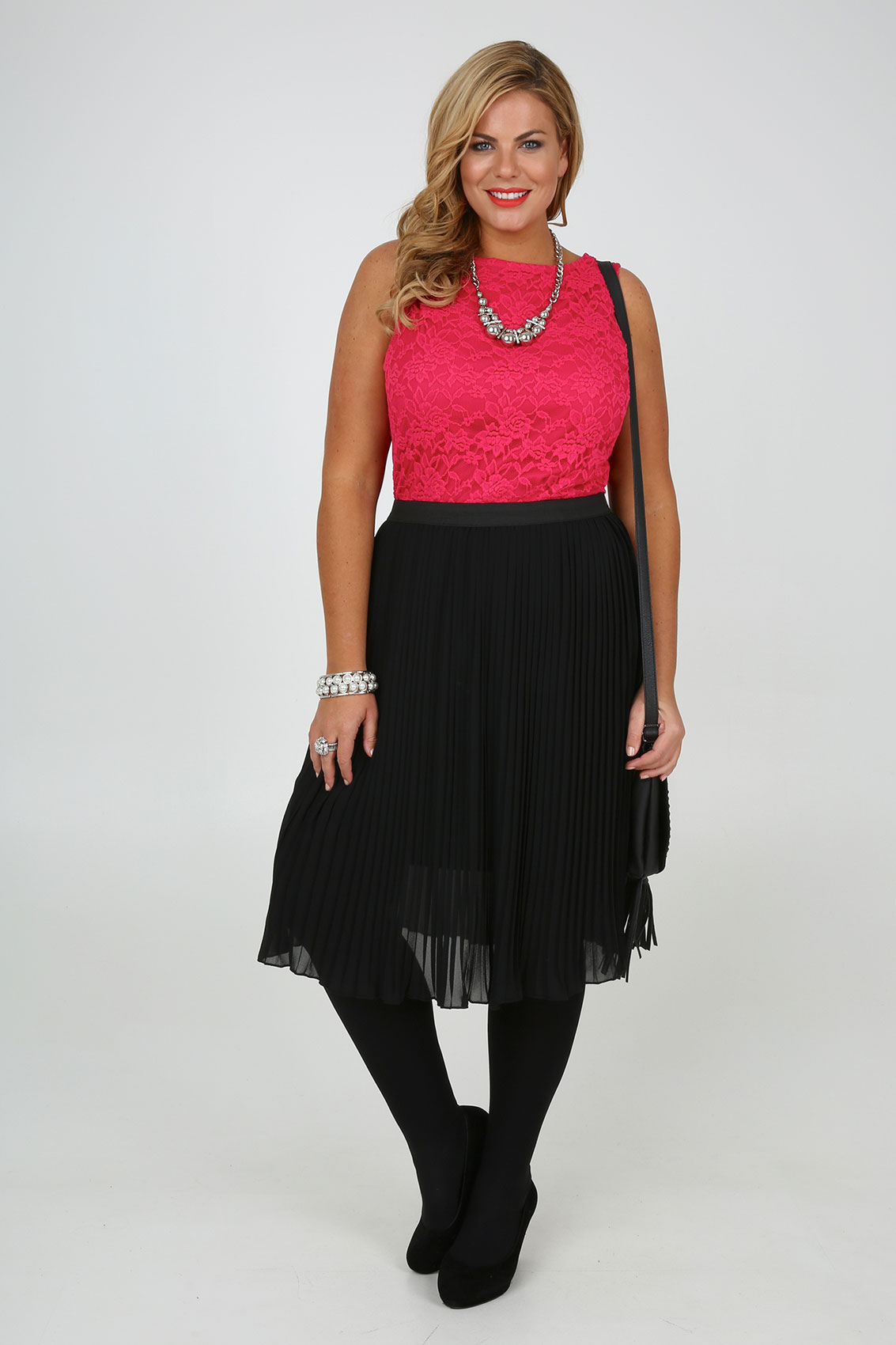 Black Chiffon Pleated Midi Skirt With Elasticated Waist plus Size ...