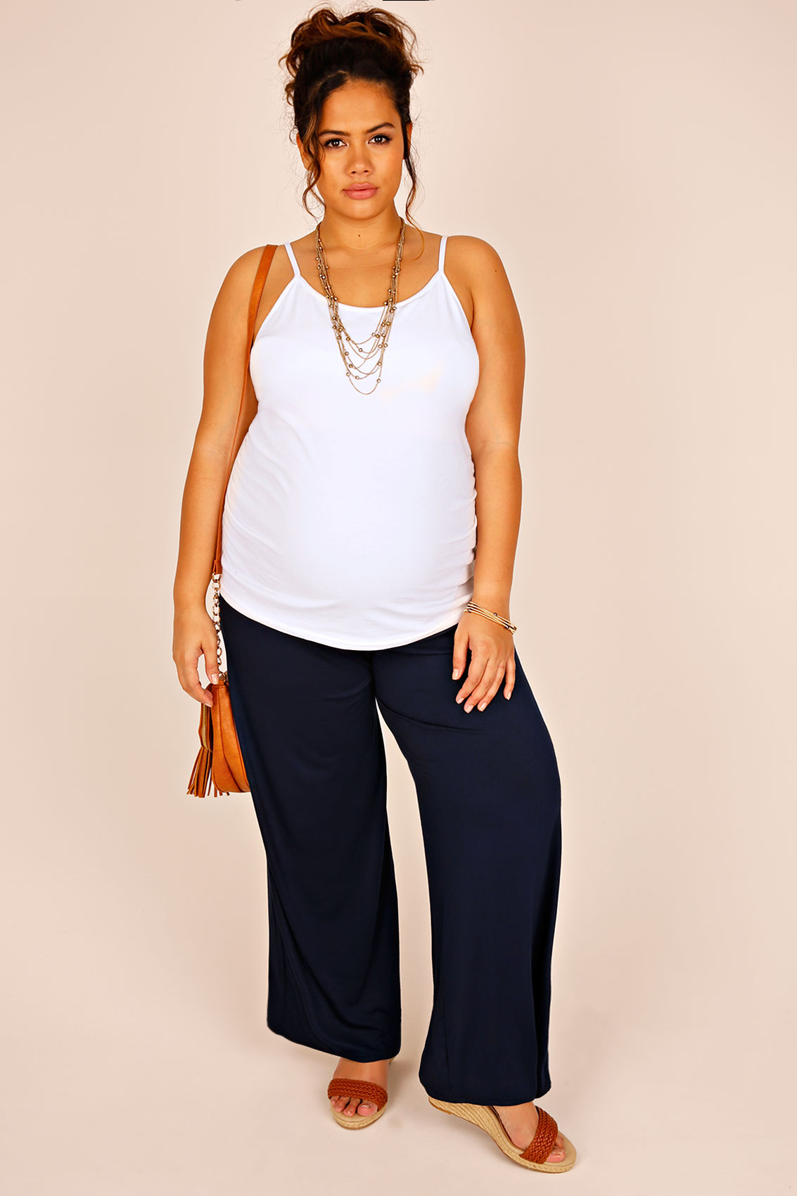 Bump It Up Maternity Navy Palazzo Trousers With Comfort -2688