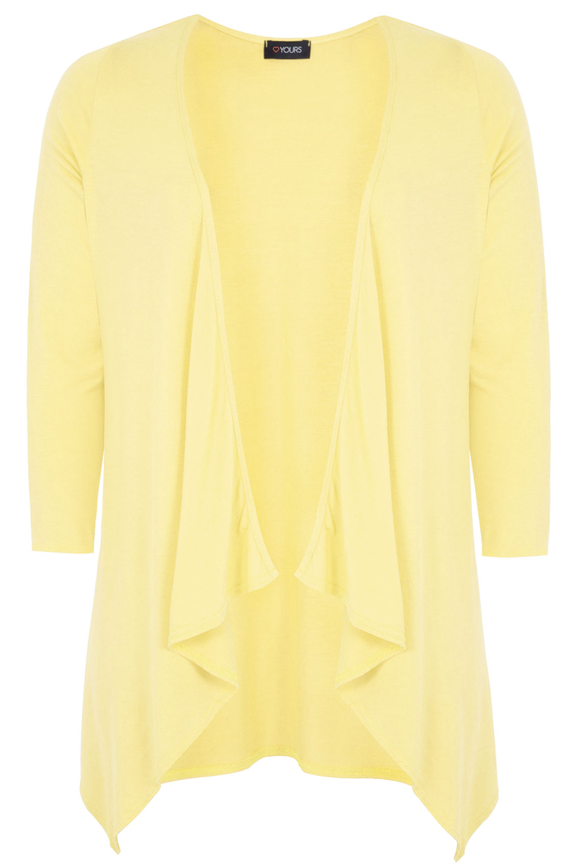 Lemon Yellow Waterfall Edge to Edge Cardigan Plus size 16,18,20,22 ...