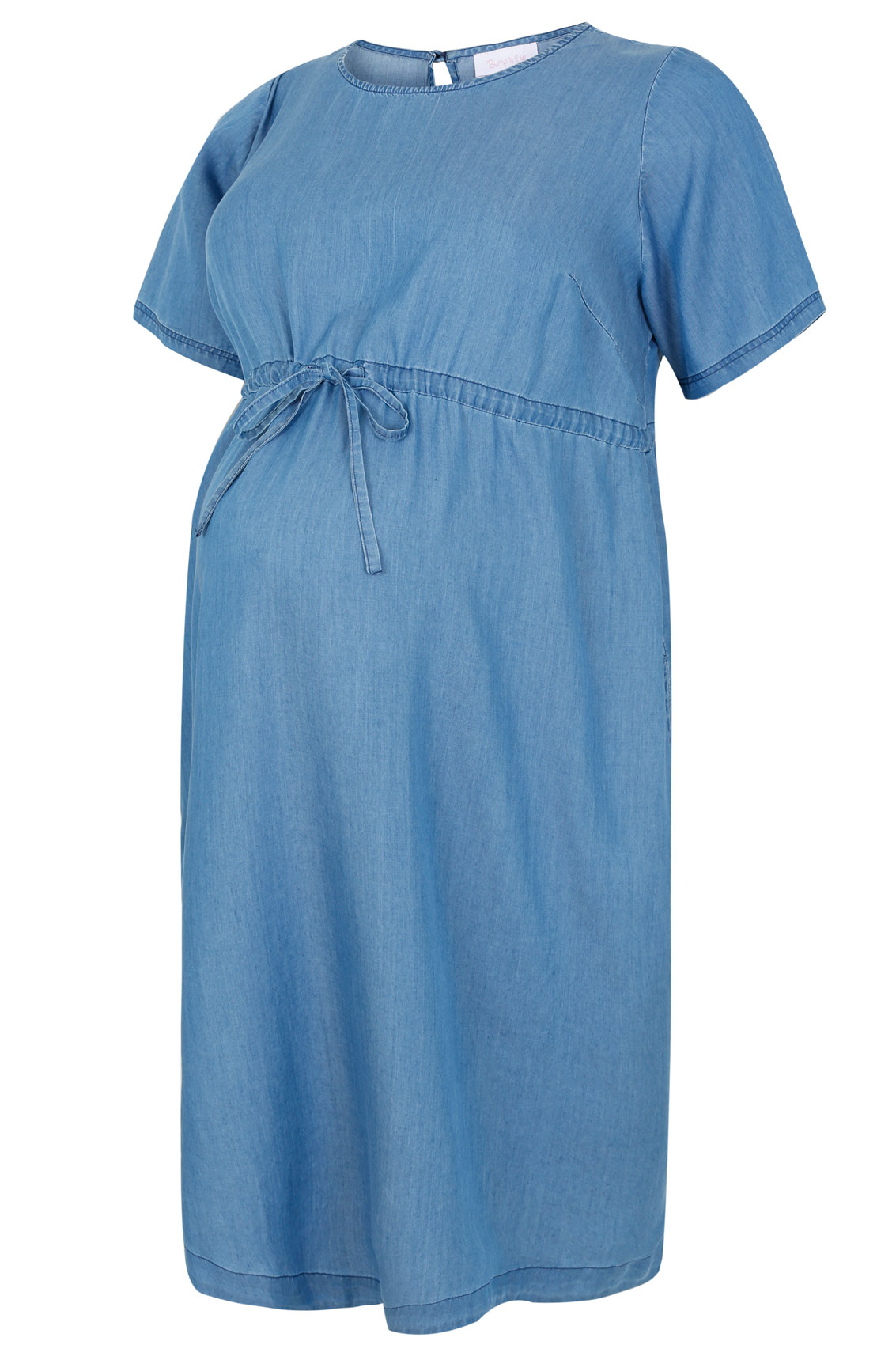 Bump It Up Maternity Light Blue Tie Waist Denim Dress Plus
