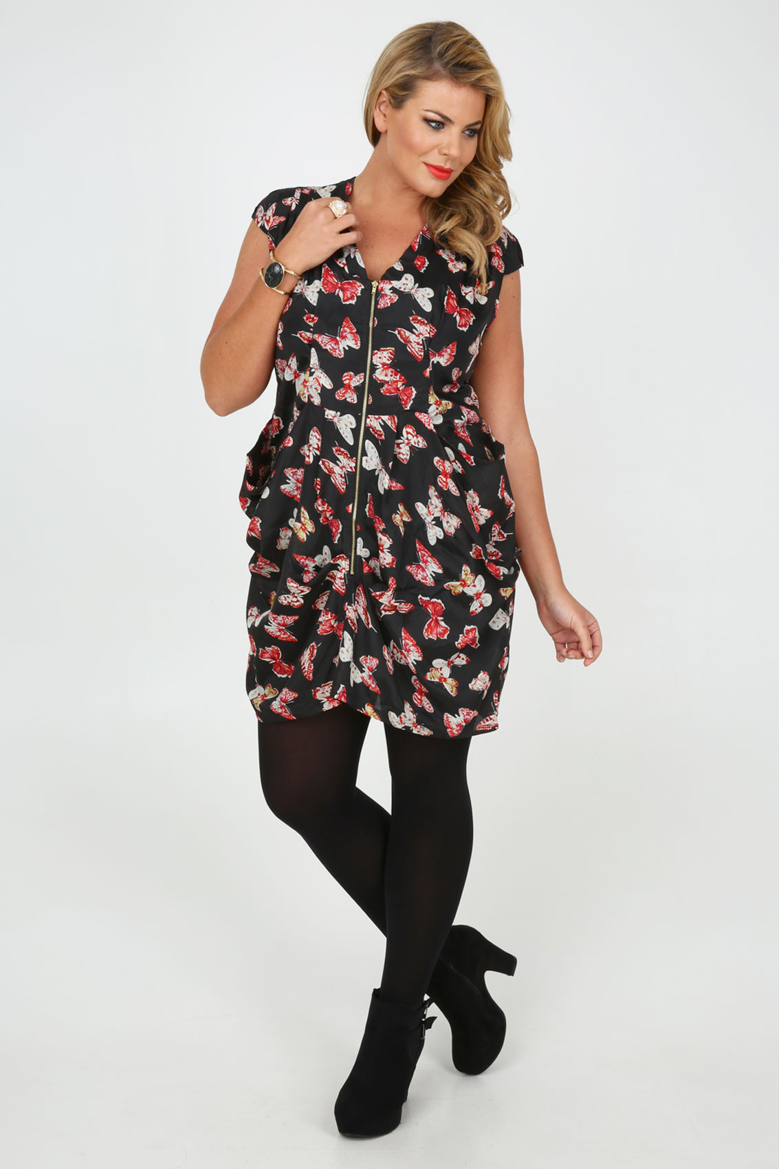Black And Red Butterfly Print Zip Front Tunic Dress With Pleating ...