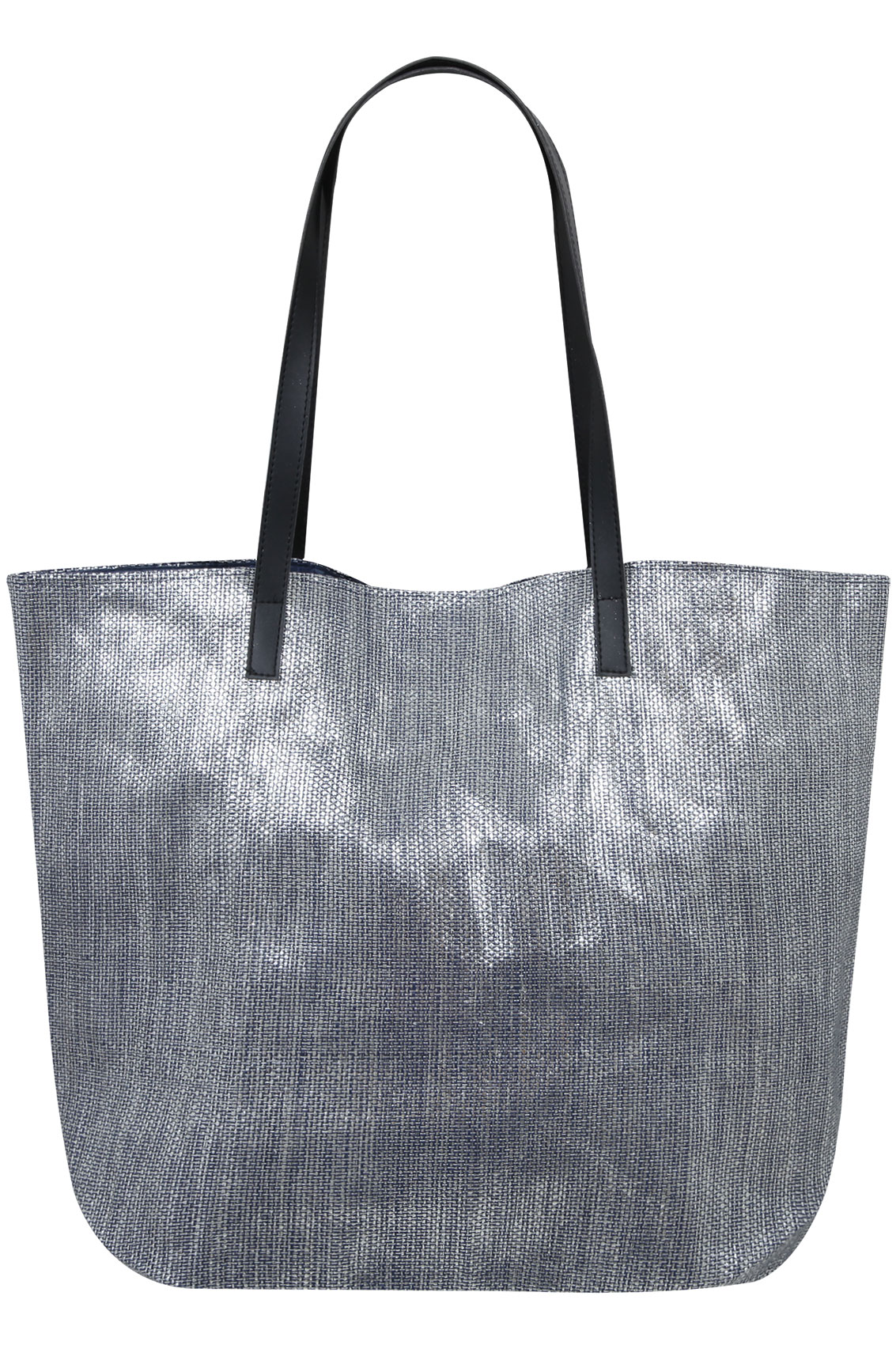 Silver Metallic Blue Straw Beach Bag With Pu Straps