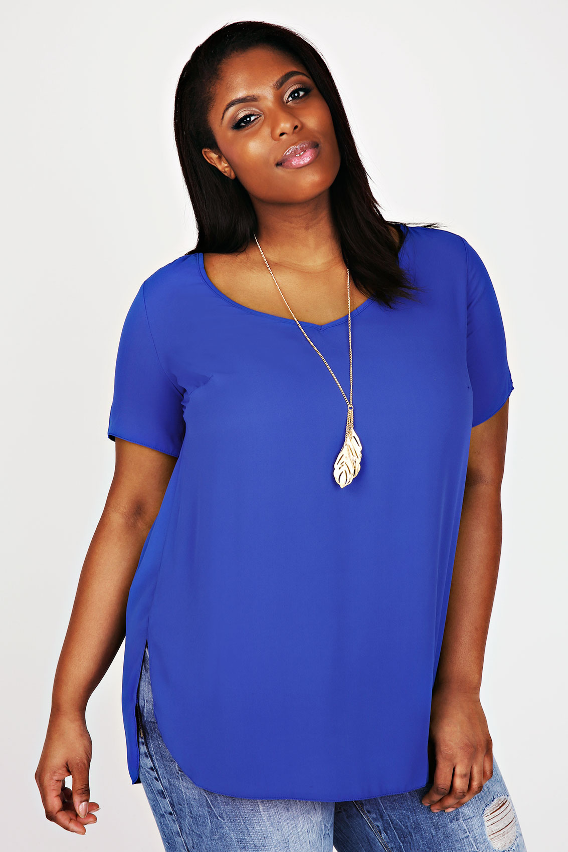 Blue V-Neck Chiffon Top With Pleat Back And Dipped Hem