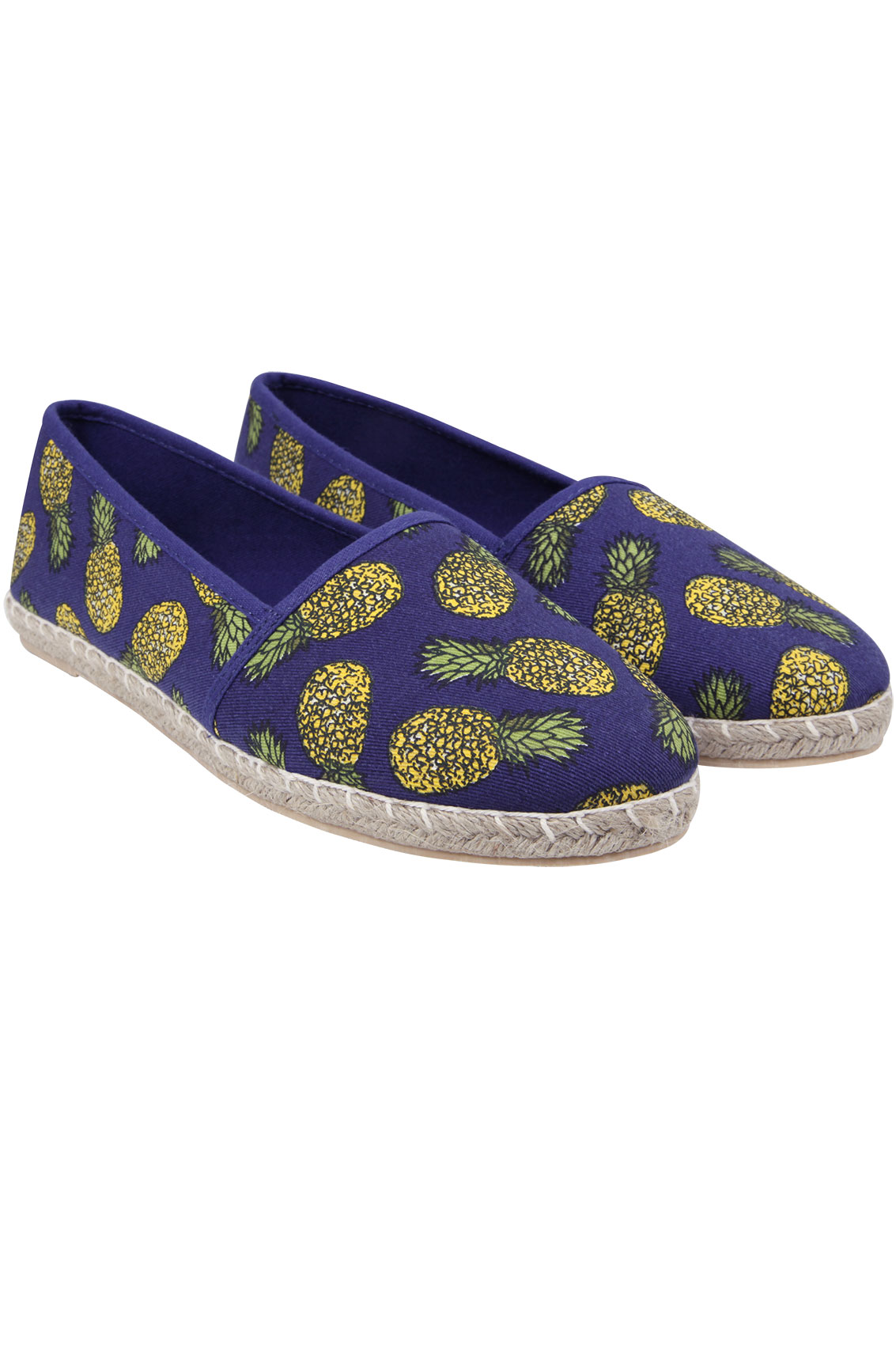 Blue pineapple print canvas espadrille pump in eee fit for Buy here pay later
