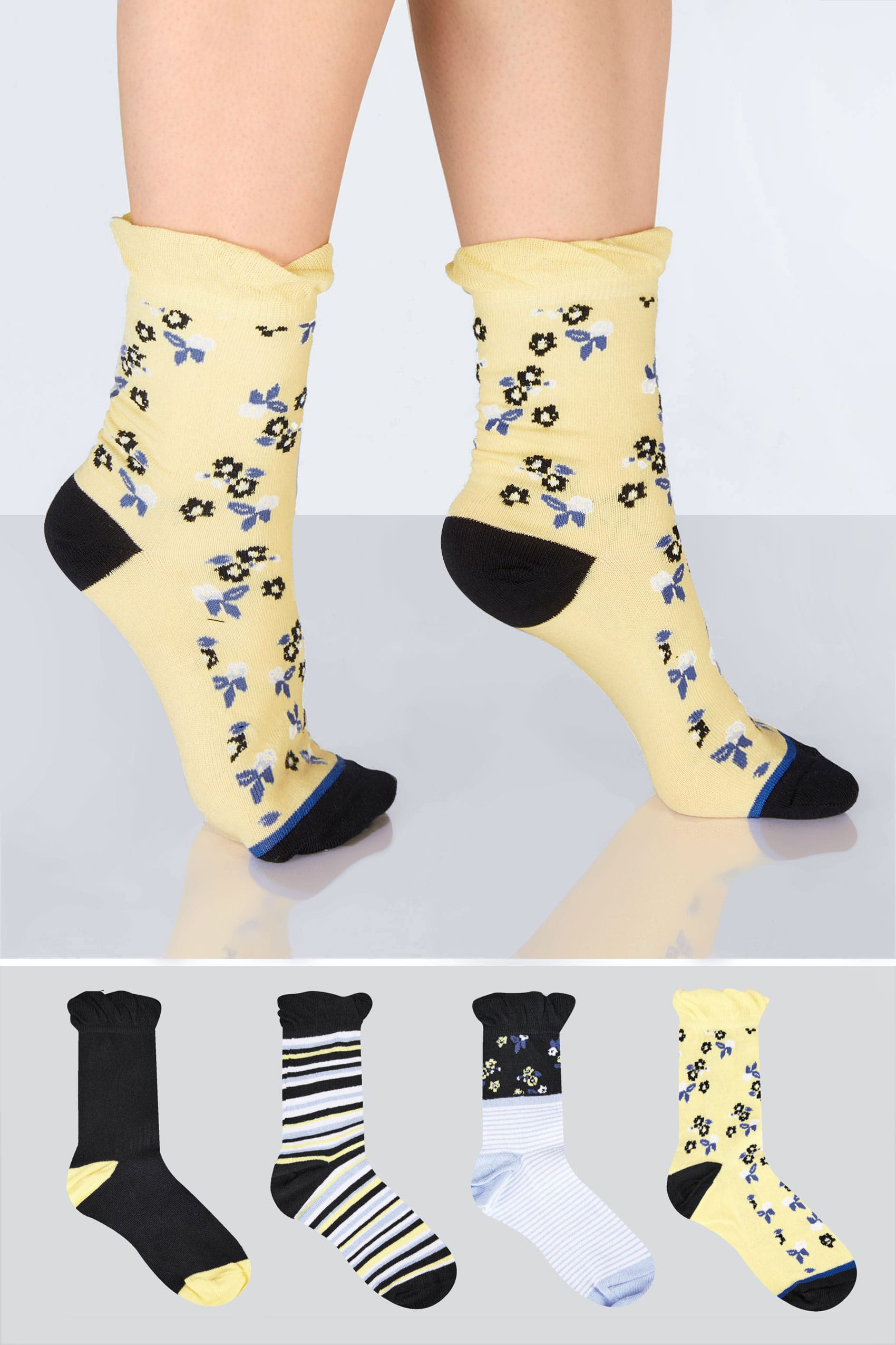 4 pack black multi stripe floral socks for Buy here pay later