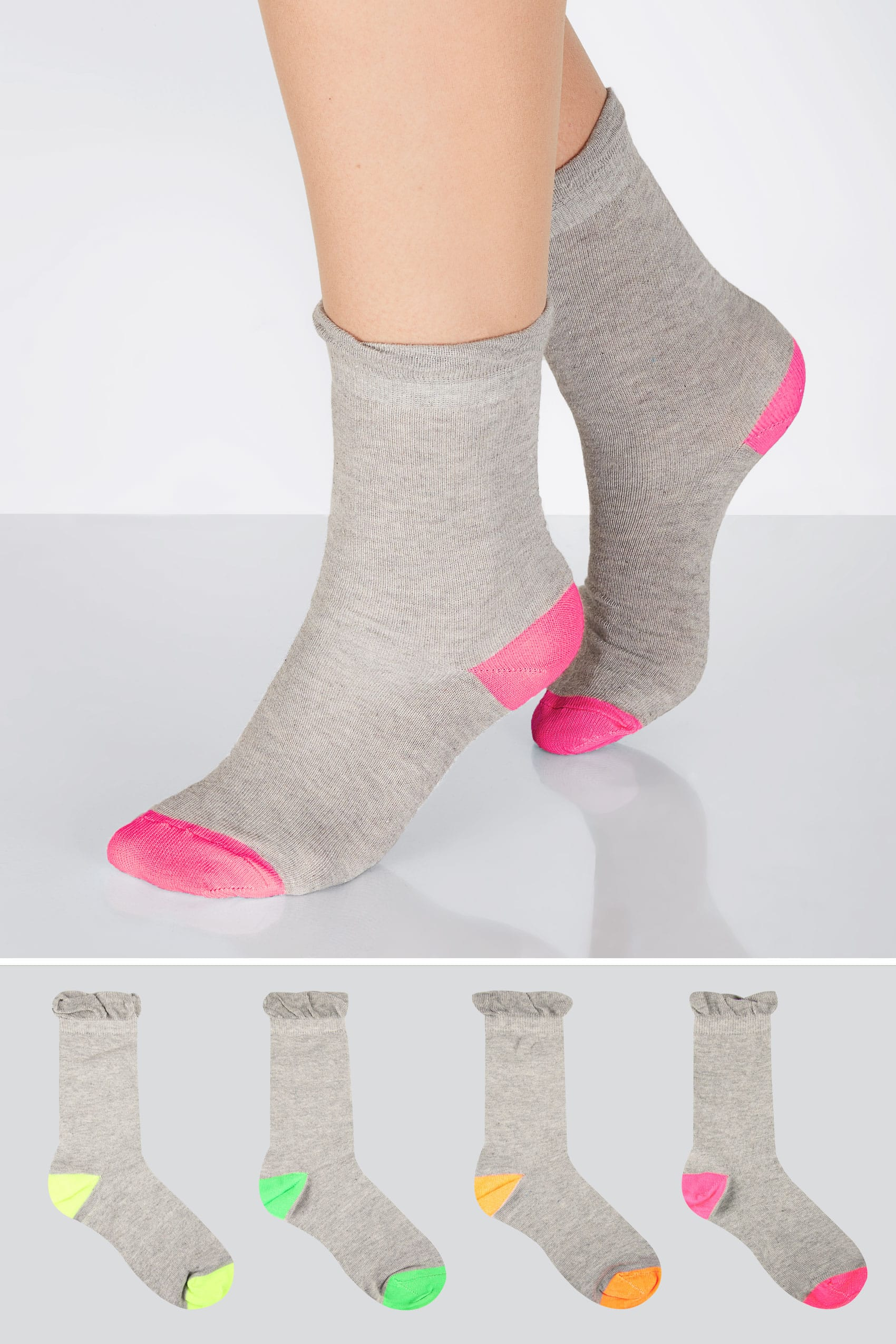 Grey 4 pair pack coloured heel toe socks in extra wide fit for Buy here pay later