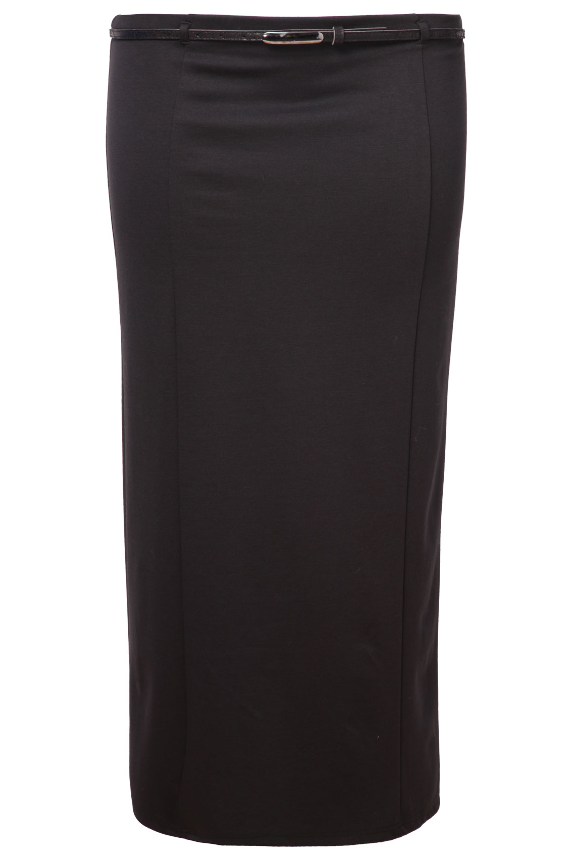 Black Panelled Long Slim Skirt With Patent Belt plus size 16,18,20 ...