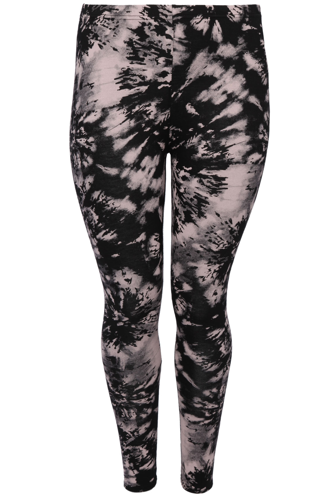 Black And Nude Pink Smudge Print Full Length Leggings Plus -1014