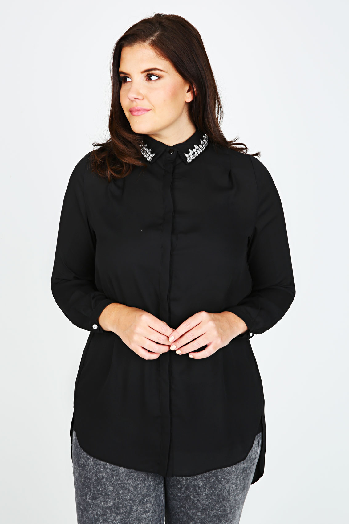 black chiffon shirt with jewelled collar plus size 16 to 32