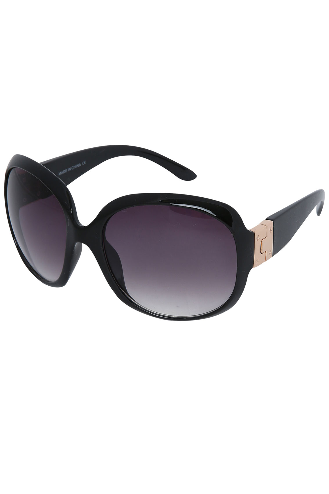 Black Frame Sunglasses With Gold Metal Hinge