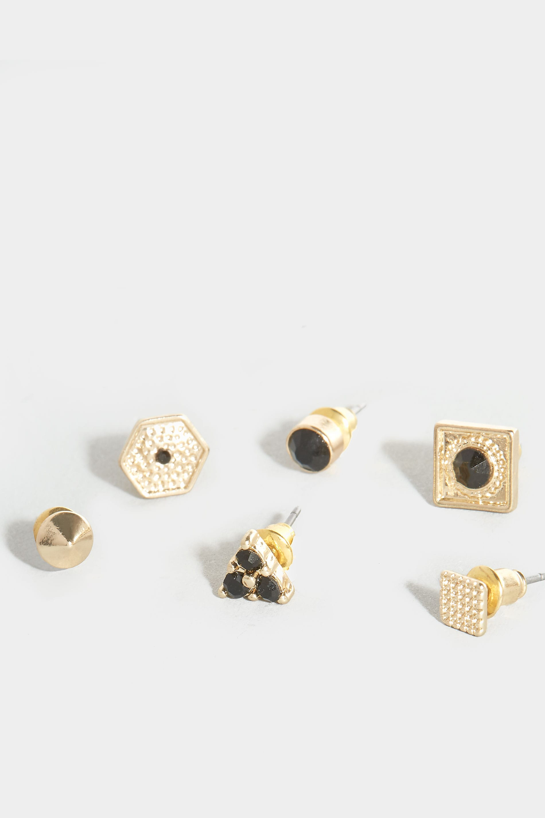 6 pack gold black assorted stud earrings. Black Bedroom Furniture Sets. Home Design Ideas