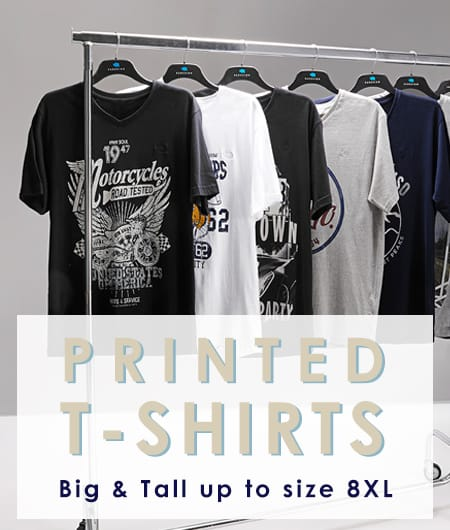 Shop Big and Tall Men's Printed T-shirts >