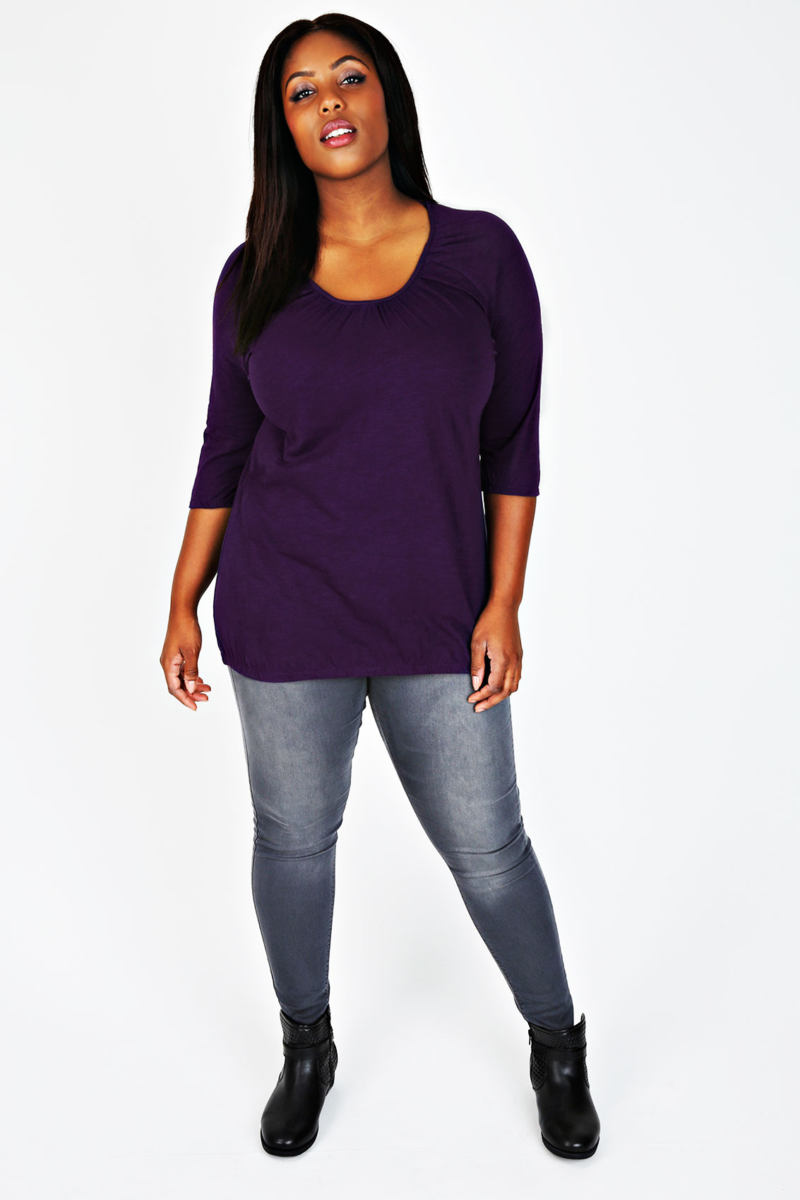 purple 3 4 sleeve top with bubble hem plus size 16 to 32. Black Bedroom Furniture Sets. Home Design Ideas