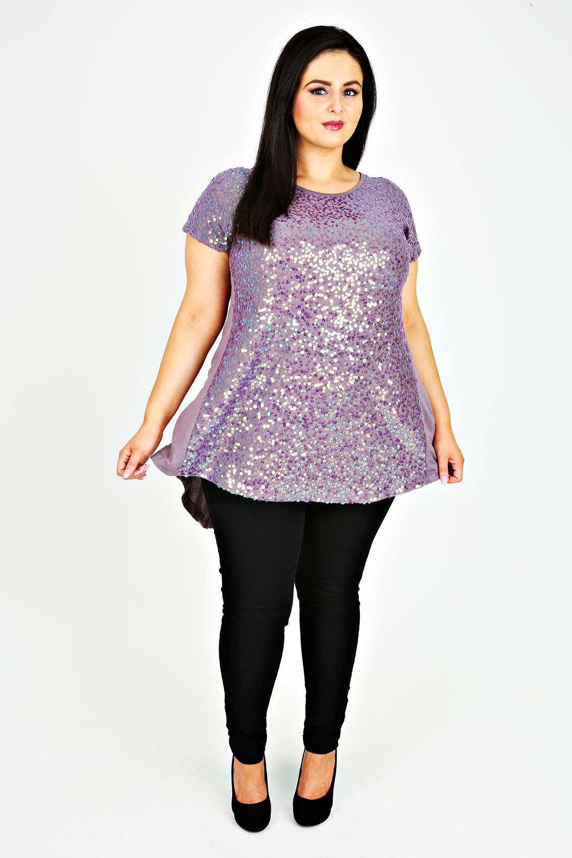 Lilac Sequin Embellished Longline Top With Godet Back Plus