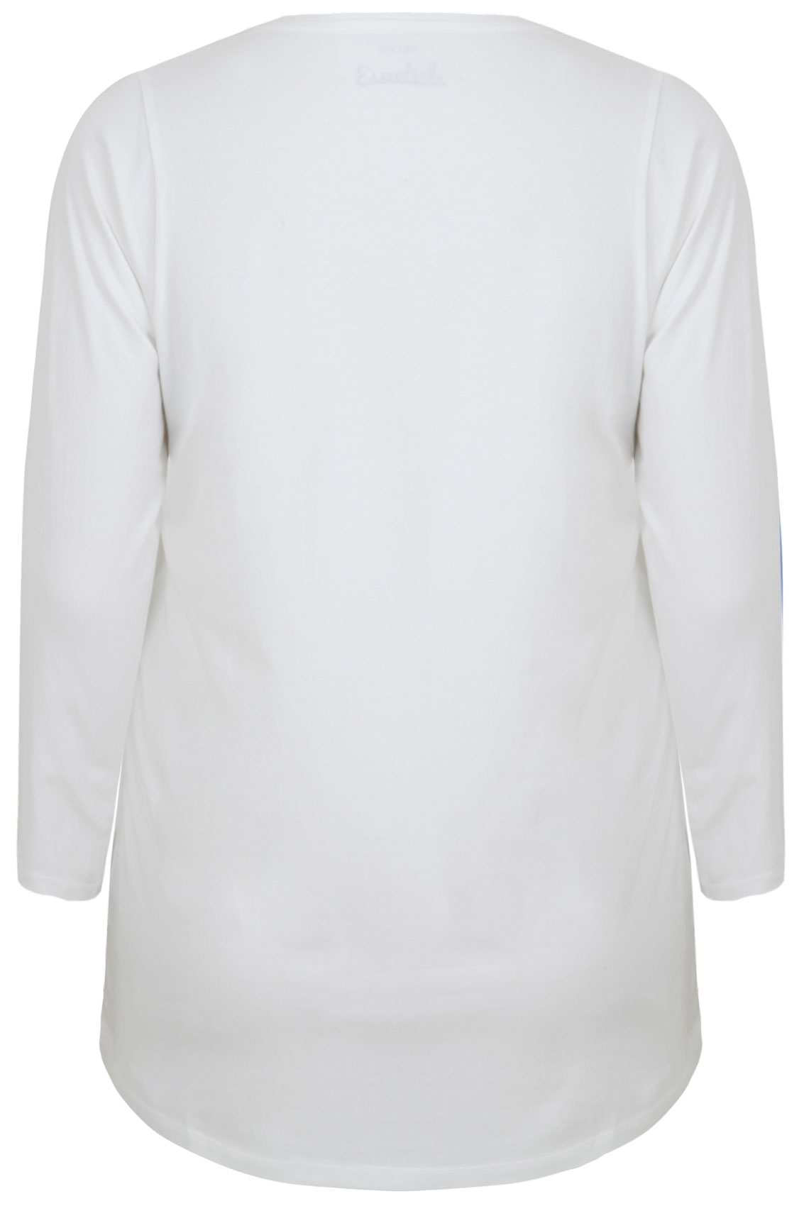 White Long Sleeve V-Neck Plain T-Shirt Plus Size 16 to 36