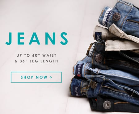 "Big and tall jeans up to 60"" waist"