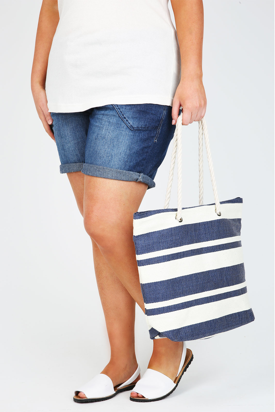 & Cream Nautical Striped Beach Bag With Rope Handles