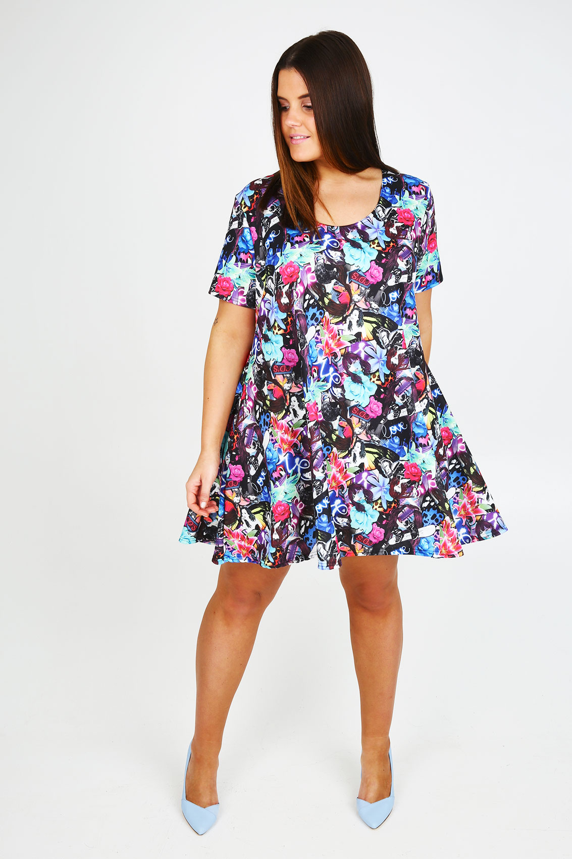 Multicoloured Floral Cartoon All Over Print Swing Dress -5268