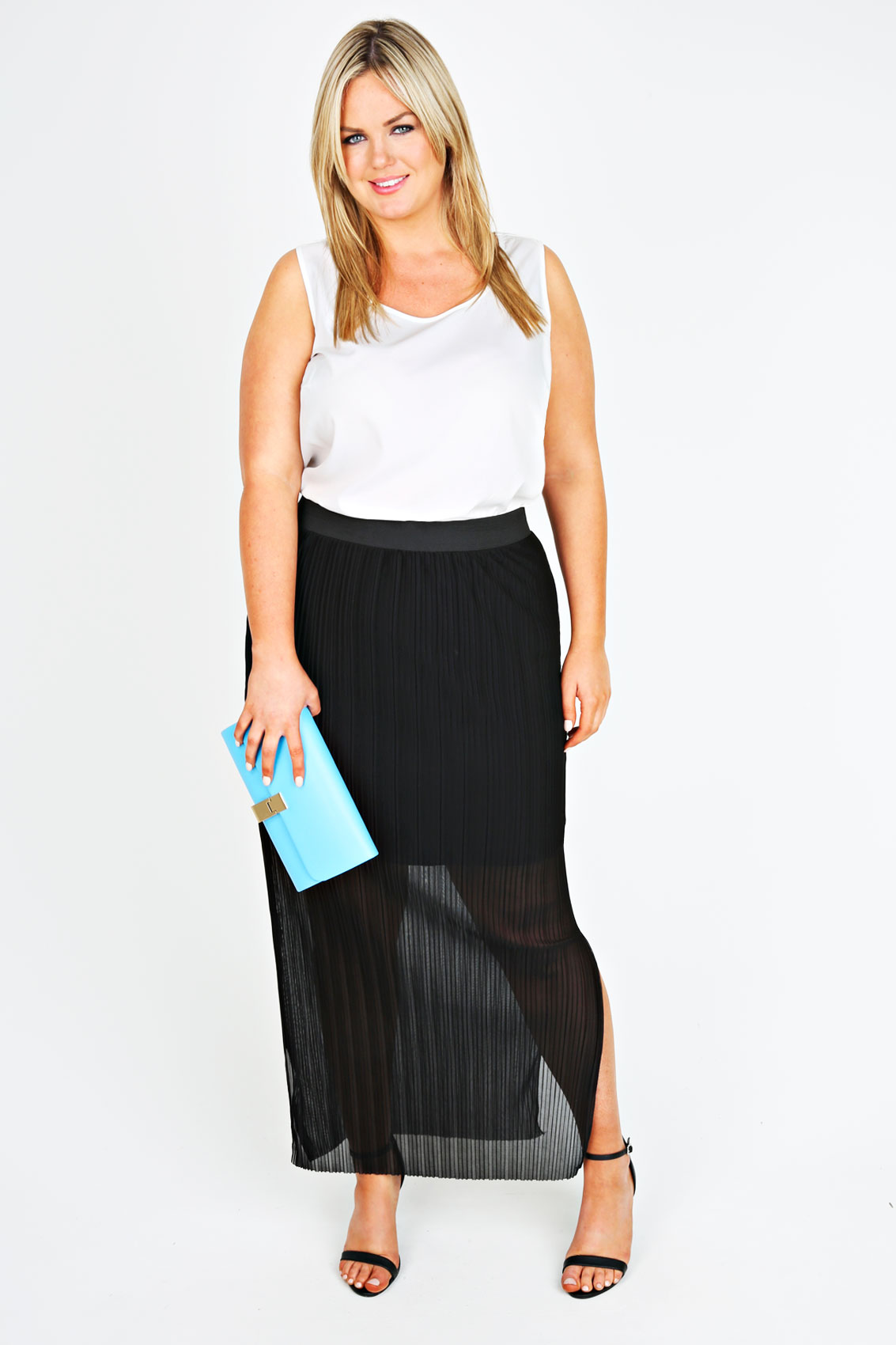 Black Pleated Maxi Skirt With Side Slits Plus Size 14 to 28