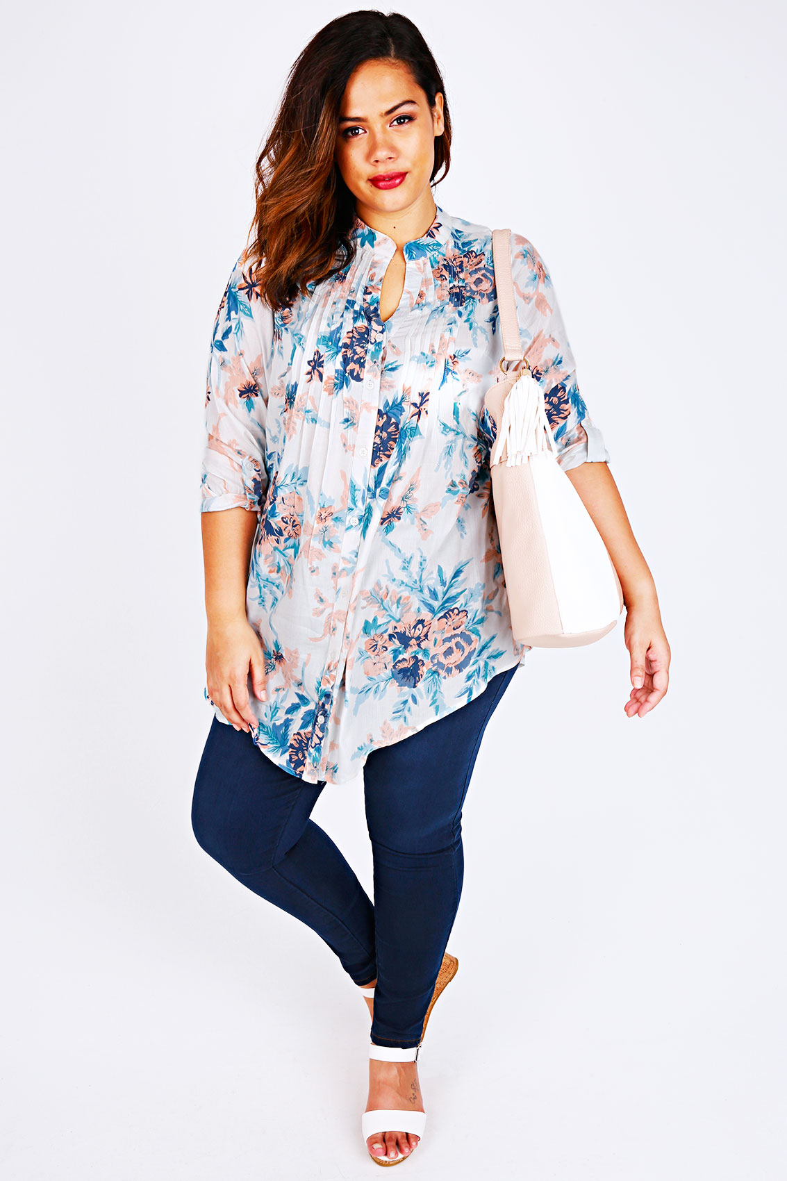 white  blue  u0026 peach floral embellished sleeved blouse plus size 16 to 36