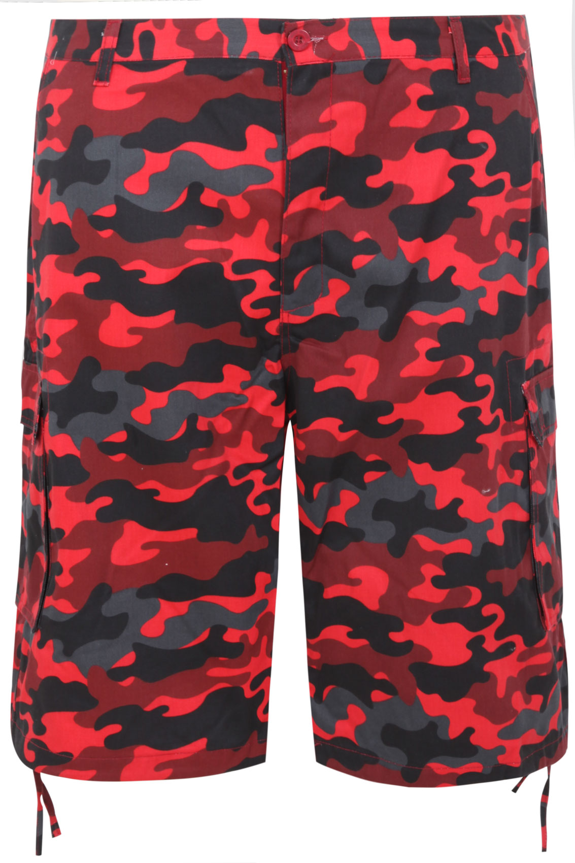 NOIZ Red & Black Camo Print Cotton Cargo Shorts With Pockets Extra ...