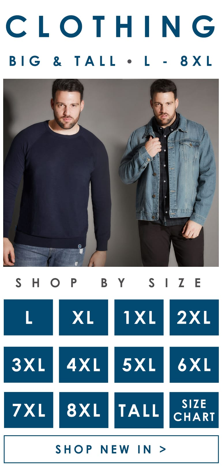 Menswear big and tall sizes L-8XL >