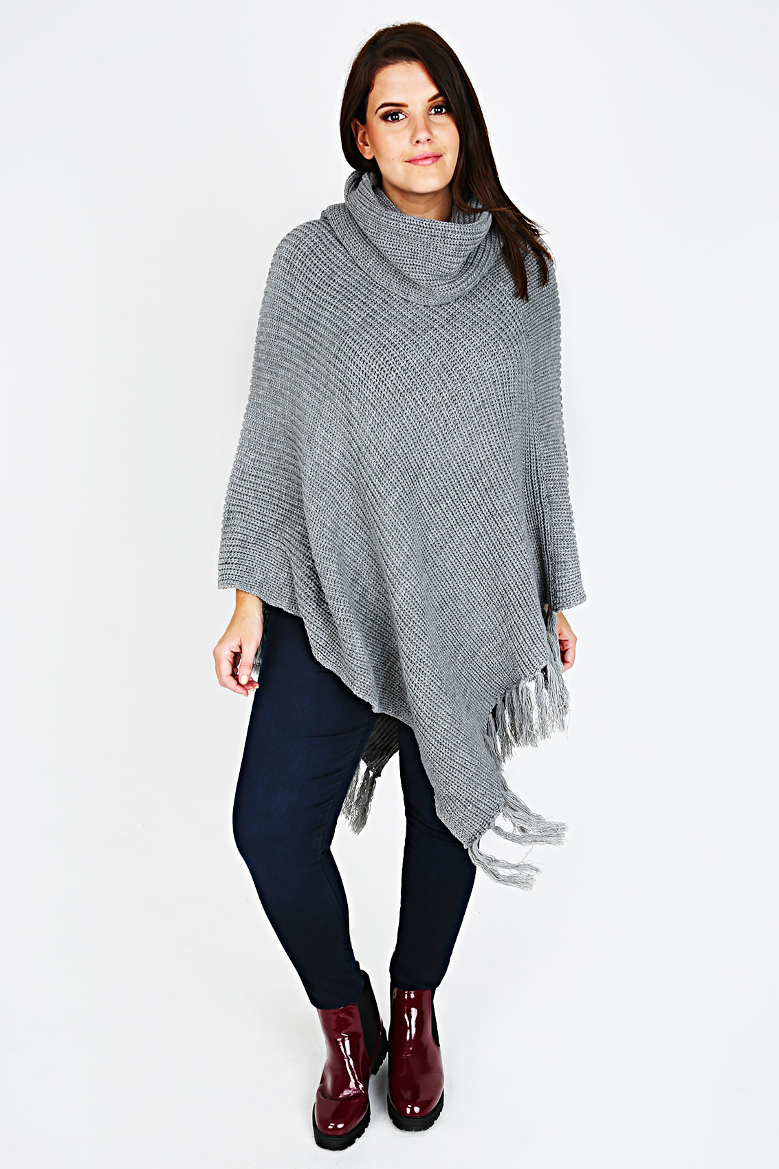 Cowl Neck Poncho Knitting Pattern : Grey Chunky Knit Cowl Neck Poncho With Tassels