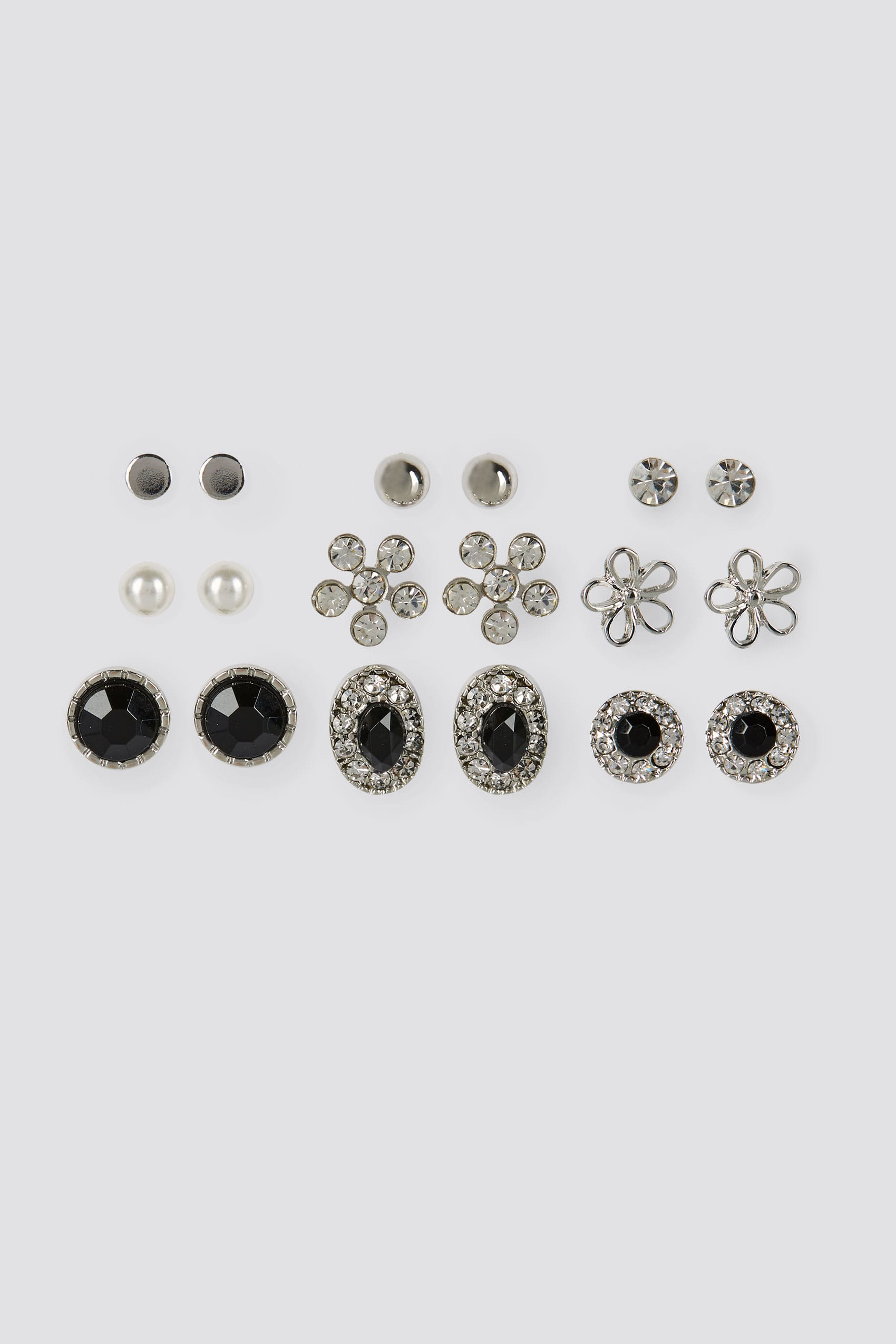 9 pack silver mixed small stud earrings