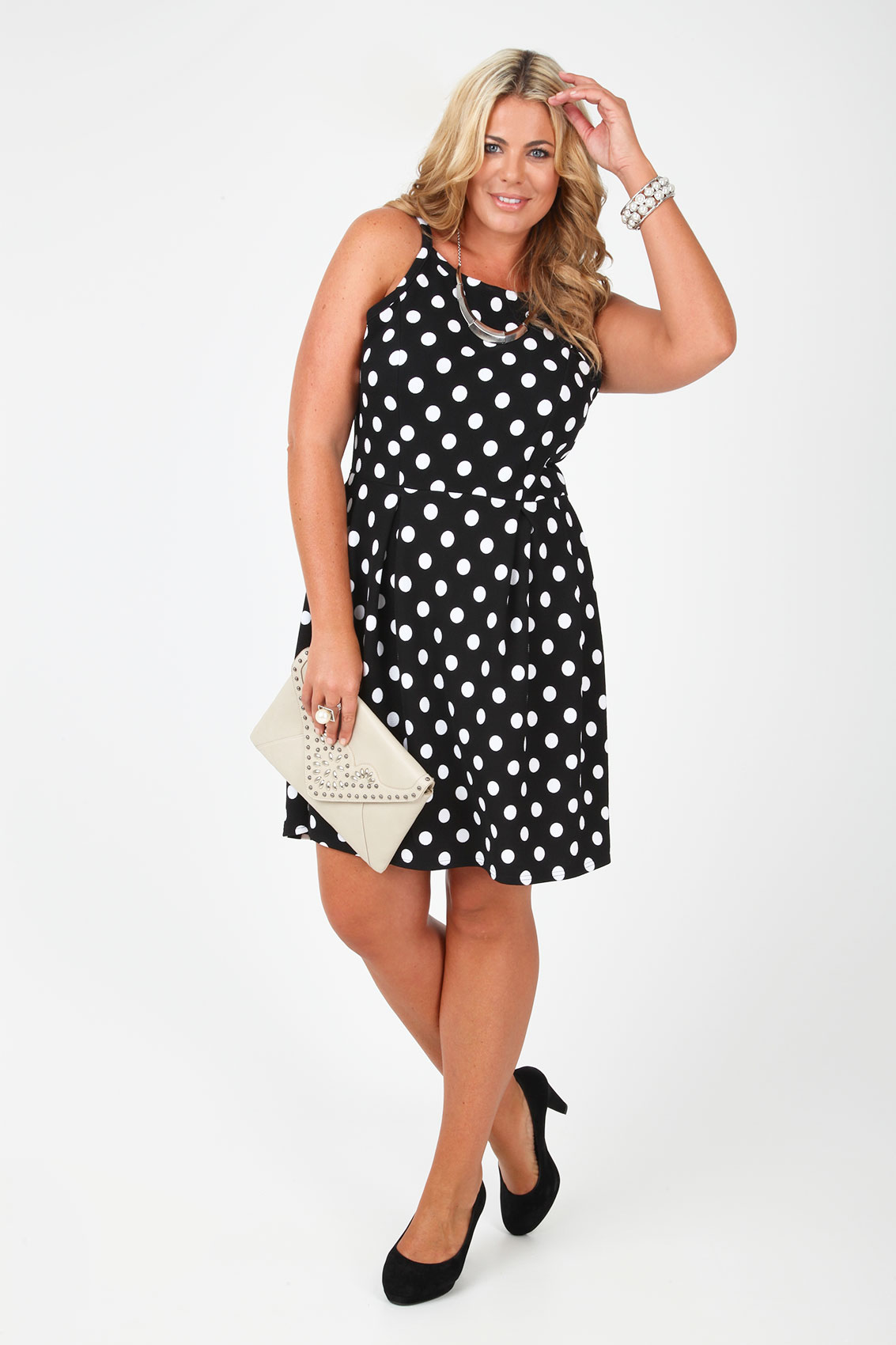 black and white polka dot sleeveless crepe skater dress. Black Bedroom Furniture Sets. Home Design Ideas