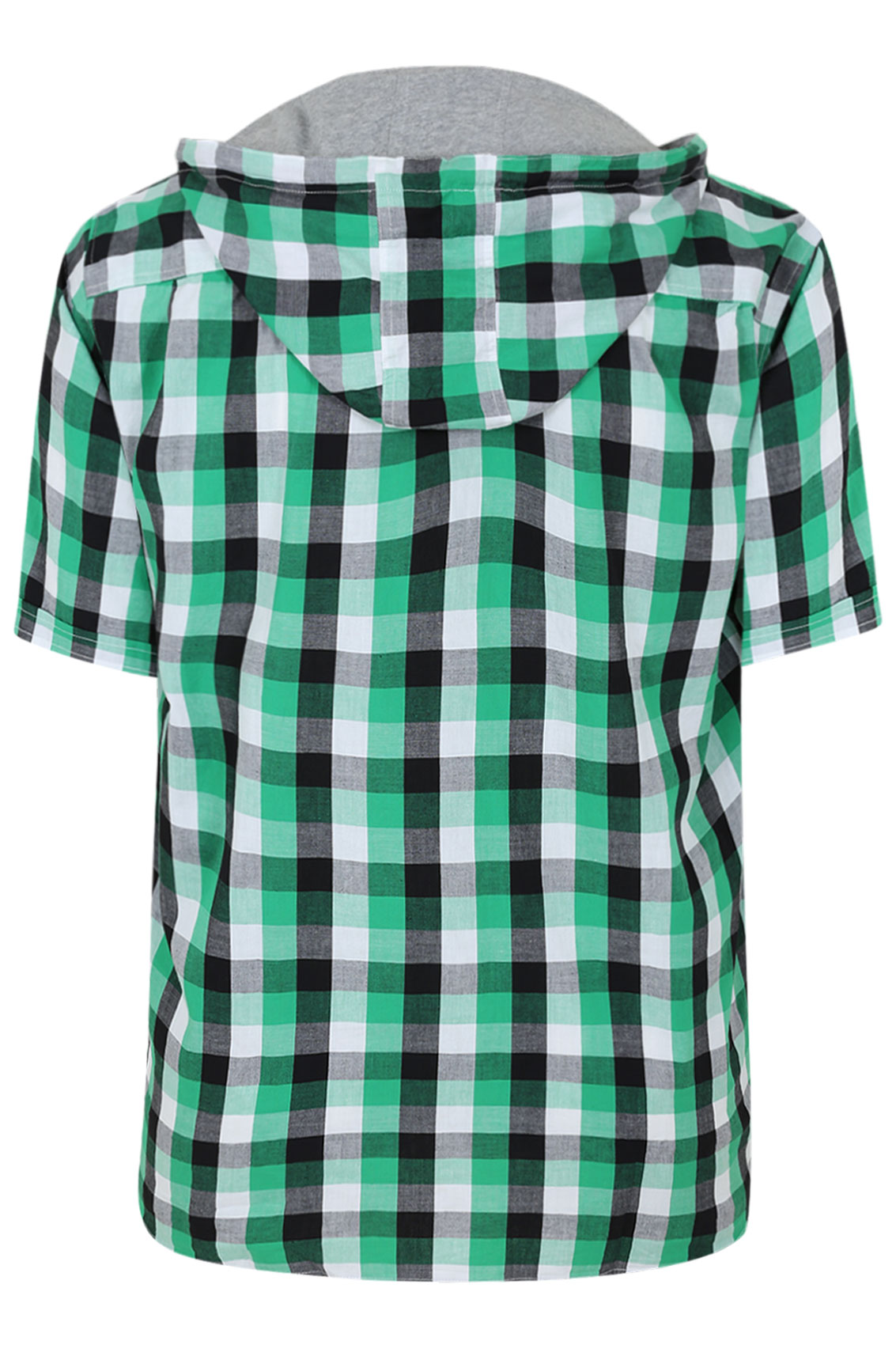 Green, Black And White Short Sleeve Check Shirt With Hood Extra ...